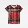 G-Star RAW® Royal Tartan X25 Print Straight T-Shirt Red model front