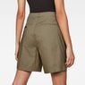 G-Star RAW® Bronson High Waist Loose Pleated Bermuda Shorts Green front flat