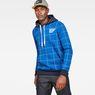 G-Star RAW® Core Hooded Window Check Sweat Bleu moyen model front