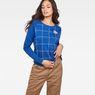 G-Star RAW® Graphic 4 Xula Window Check T-Shirt ミディアムブルー model front