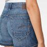 G-Star RAW® Arc High Waist Boyfriend Ripped Shorts Medium blue front flat