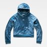 G-Star RAW® Cheiri Water Relaxed Cropped Hooded Sweat Medium blue flat front