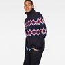 G-Star RAW® Jayvi Diamond Jacquard Turtle Knit Dark blue model side
