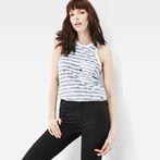 White/Sartho Blue Stripe