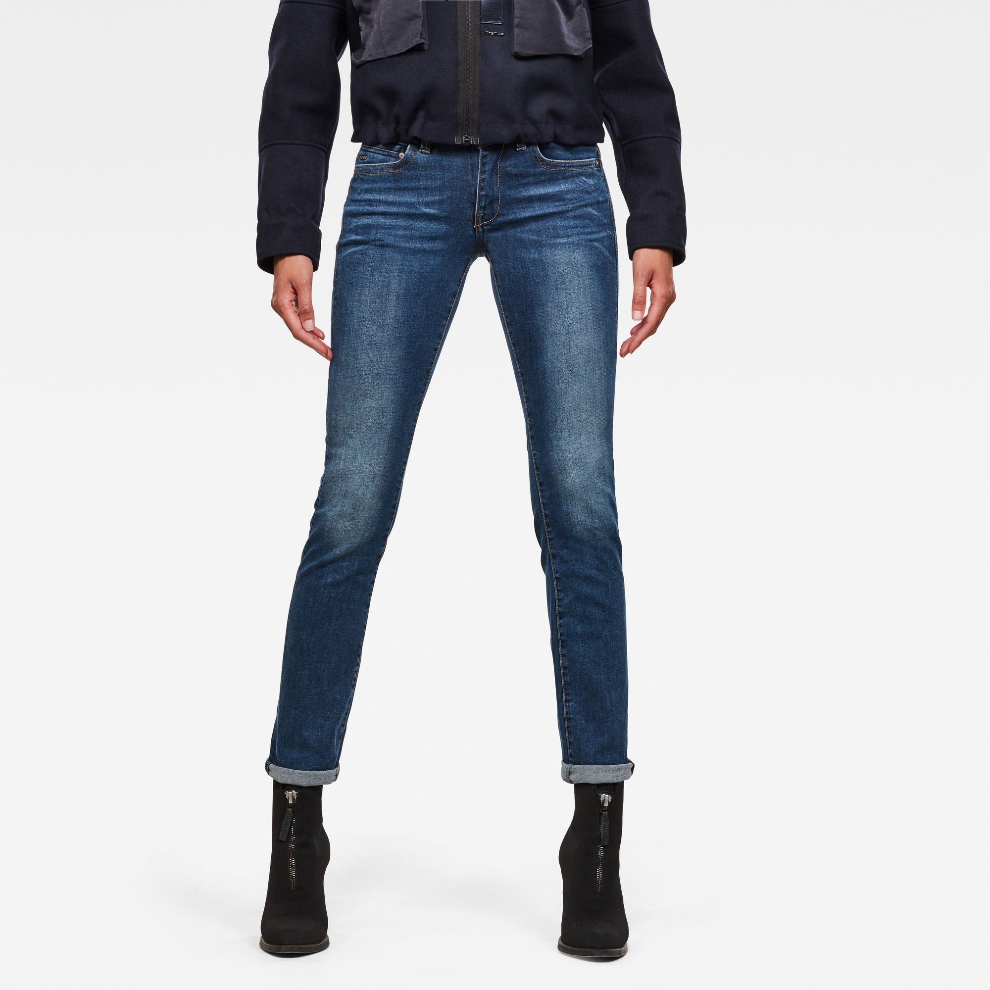 Details zu G Star RAW Neu Damen Midge Saddle Straight Jeans