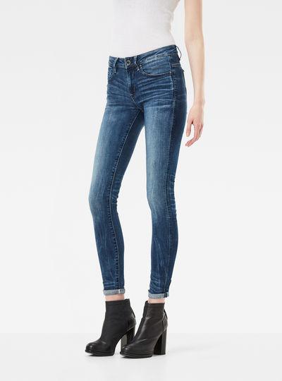 Midge Zip Mid Waist Skinny Color Jeans