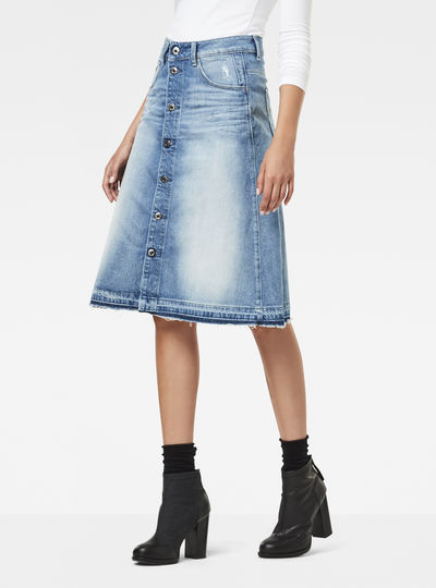 Arc Button A-Line Midi Skirt