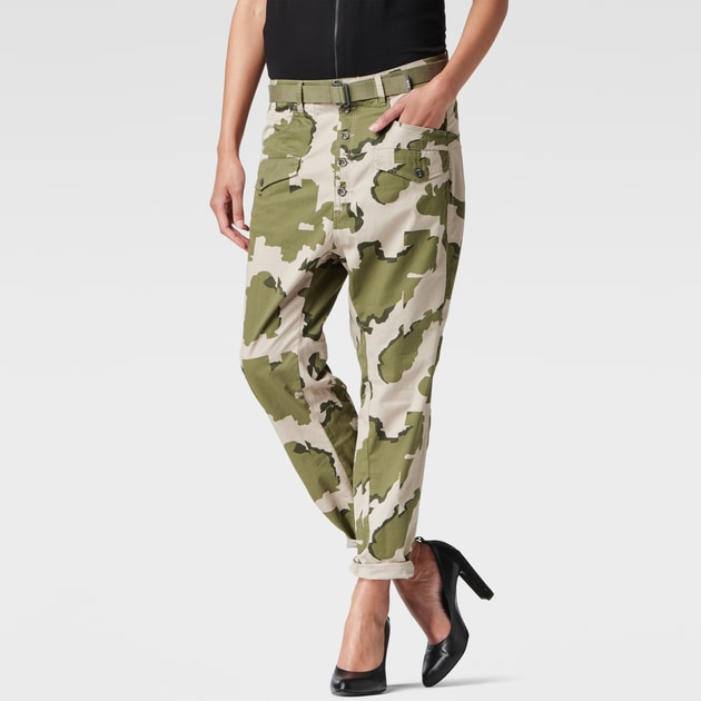 g star raw women pants lorin camo loose pants khaki. Black Bedroom Furniture Sets. Home Design Ideas