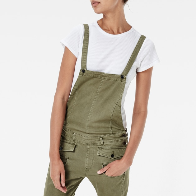 g star raw women jumpsuits overalls army radar slim overall bog green. Black Bedroom Furniture Sets. Home Design Ideas