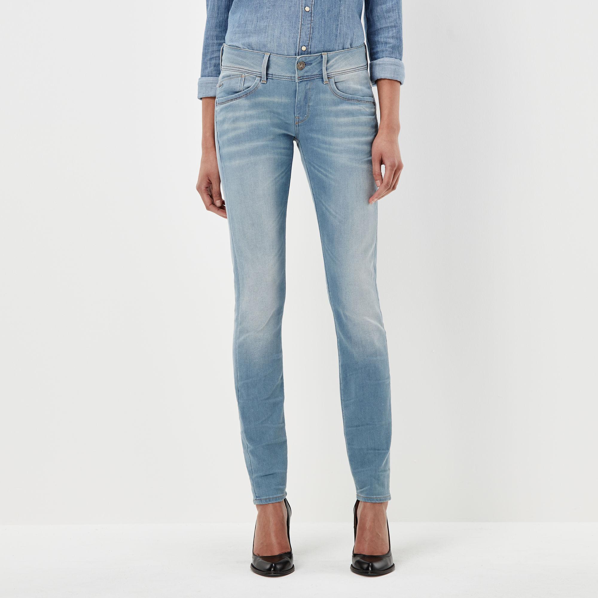 G-Star RAW Dames Lynn Mid Waist Skinny Jeans Lichtblauw