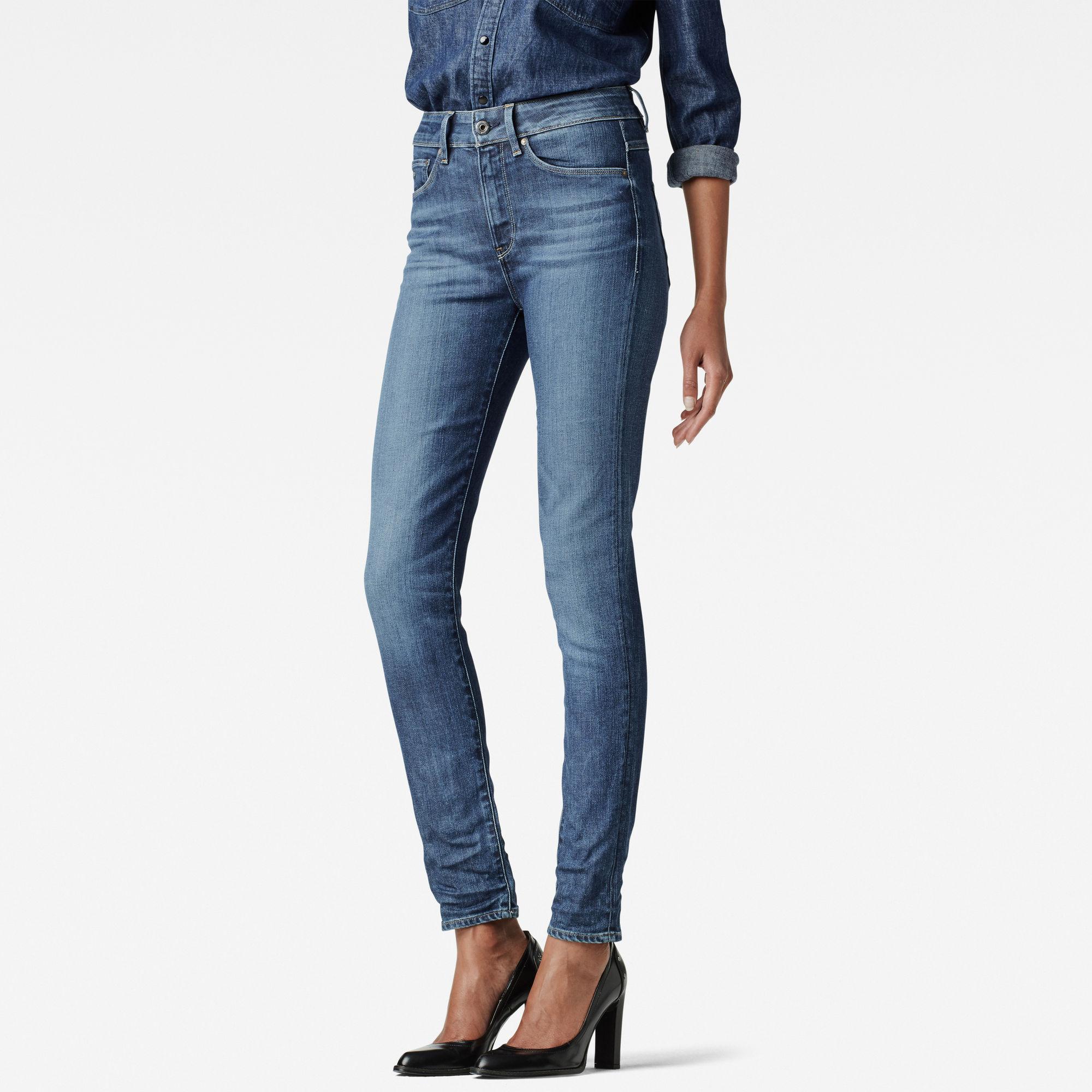 G-Star RAW Dames 3301 High Waist Skinny Jeans Donkerblauw