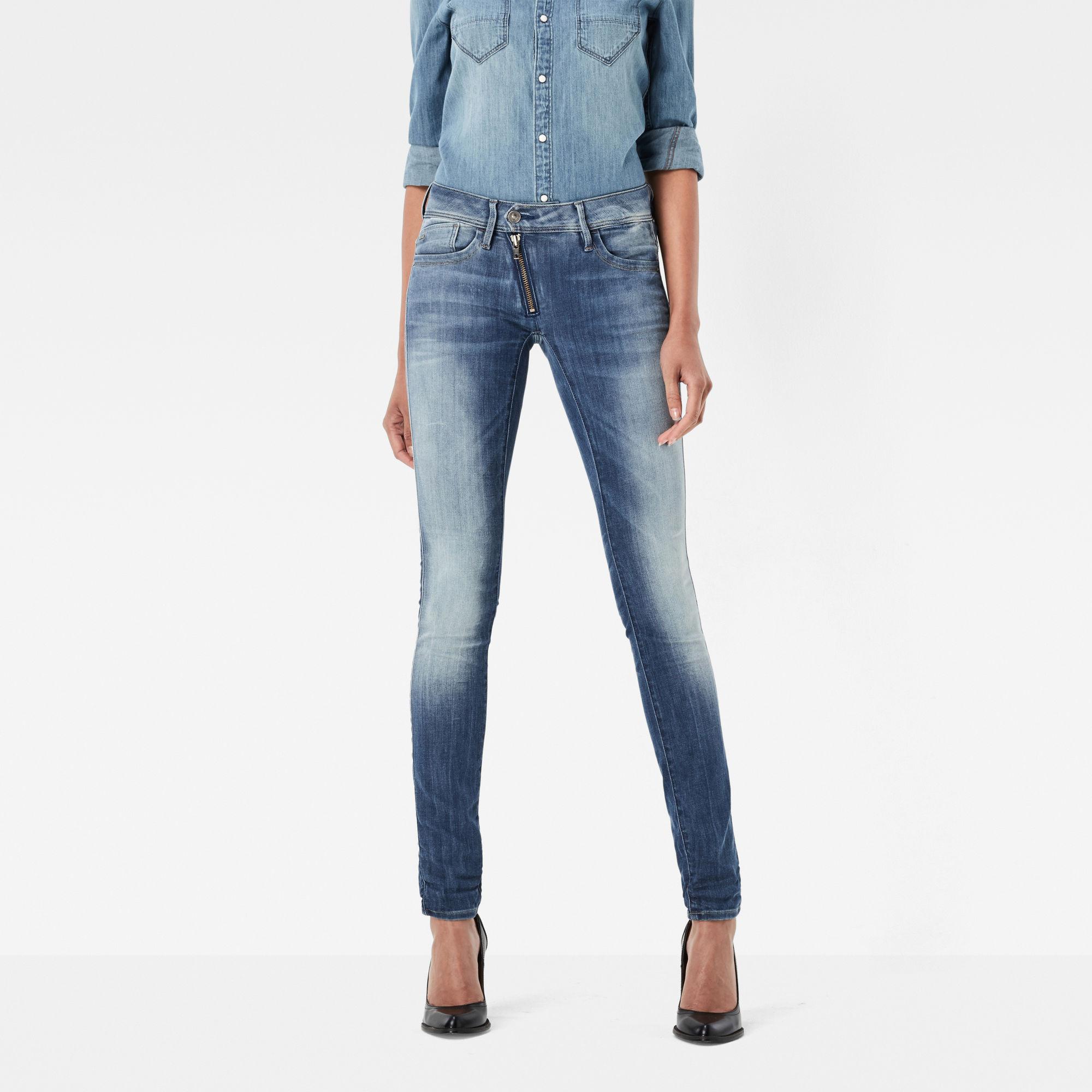 G-Star RAW Dames Lynn Zip Mid Waist Skinny Jeans Blauw