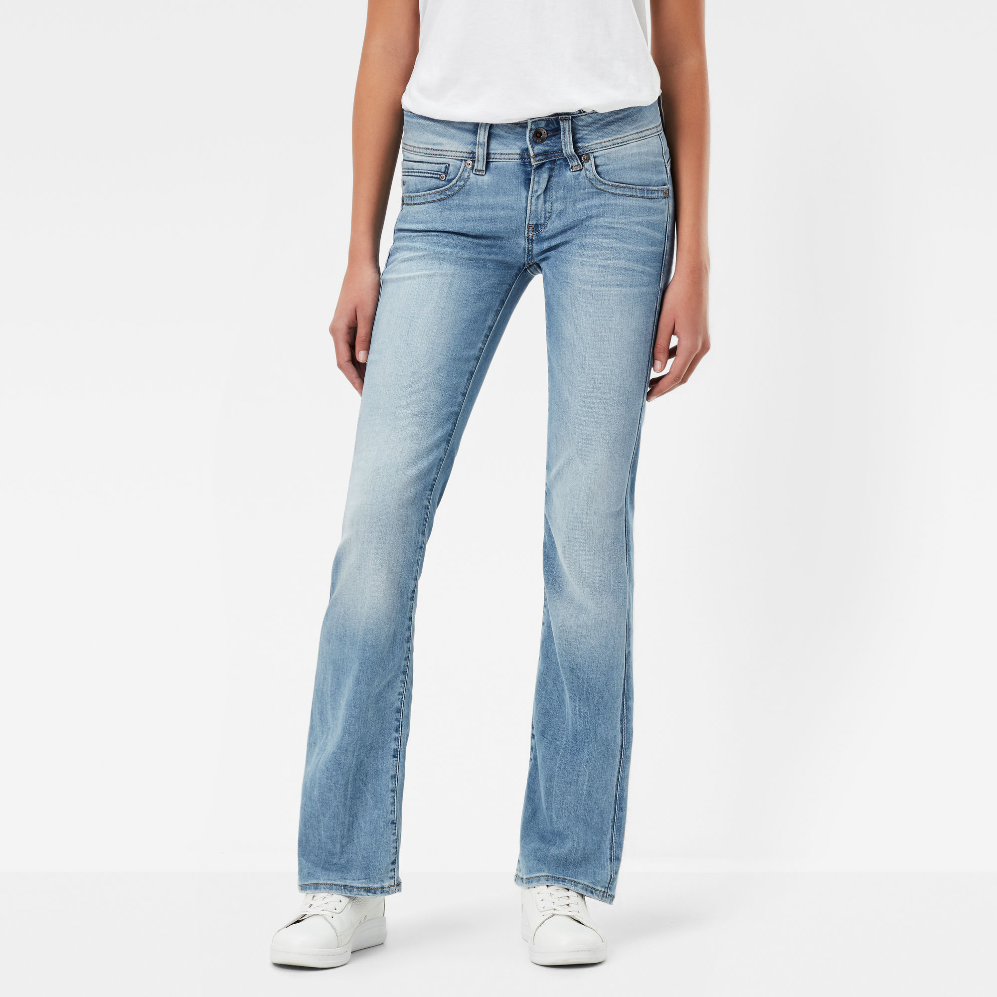G-Star RAW Dames Midge Saddle Mid Waist Skinny Bootcut Jeans Lichtblauw