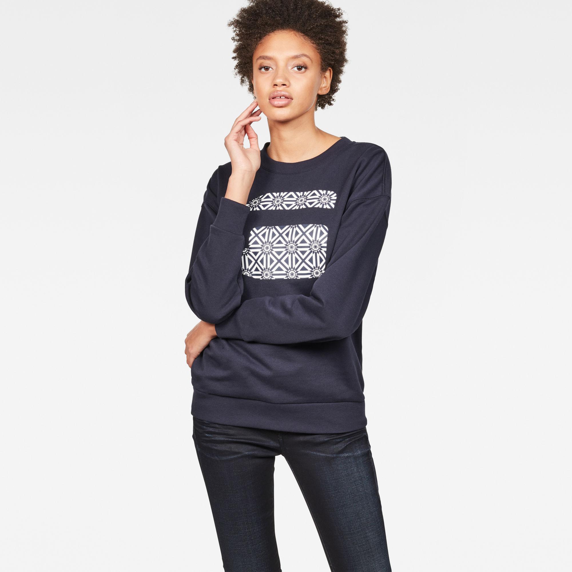 G-Star RAW Dames Oluva Oversized Sweater Donkerblauw