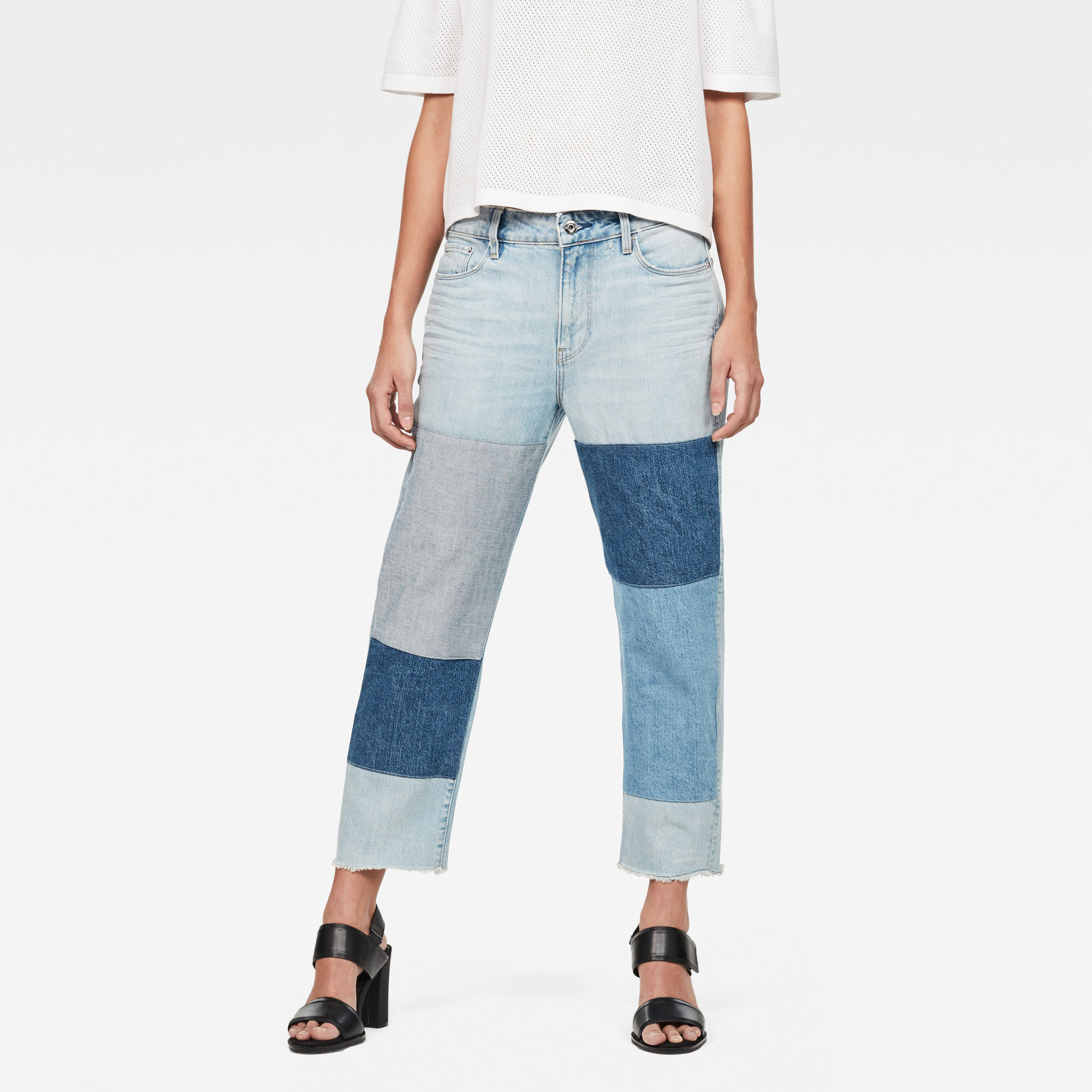 G-Star RAW Dames 3301 Mid waist Boyfriend Ripped 7/8-Length Jeans Light Aged Patched