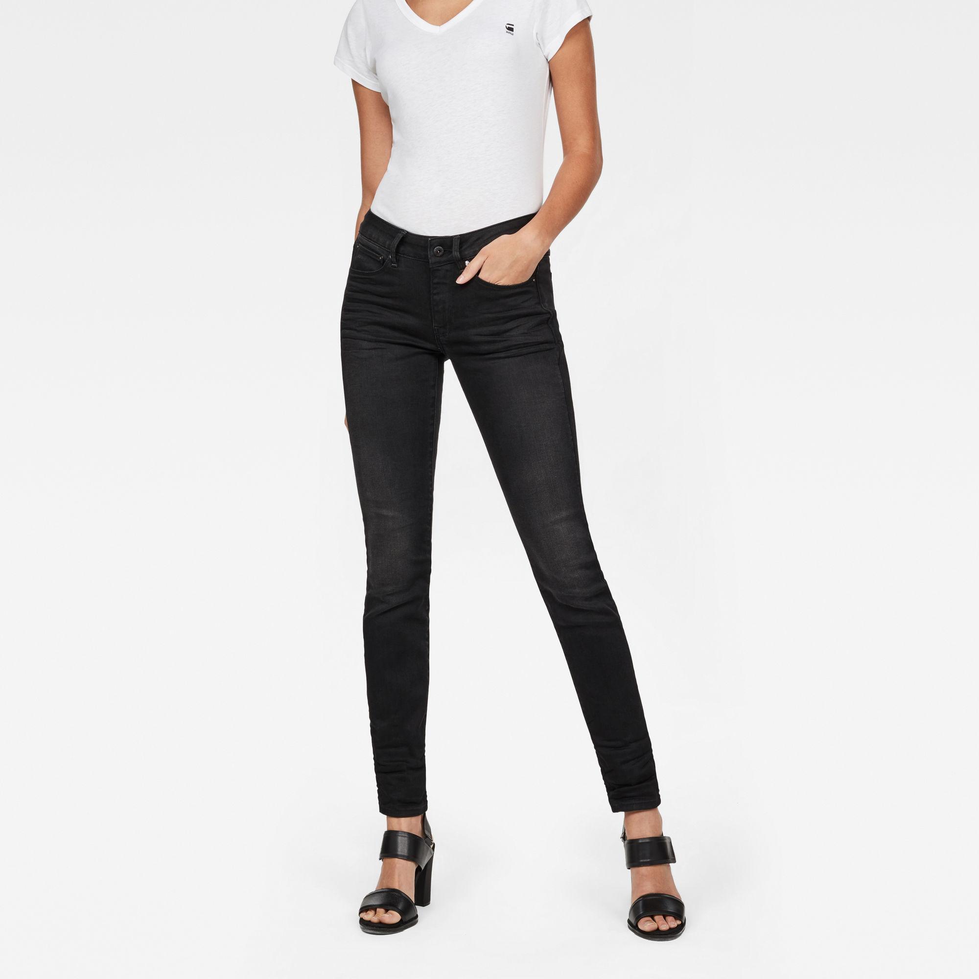 G-Star RAW Dames 3301 Contour Skinny Jeans Zwart