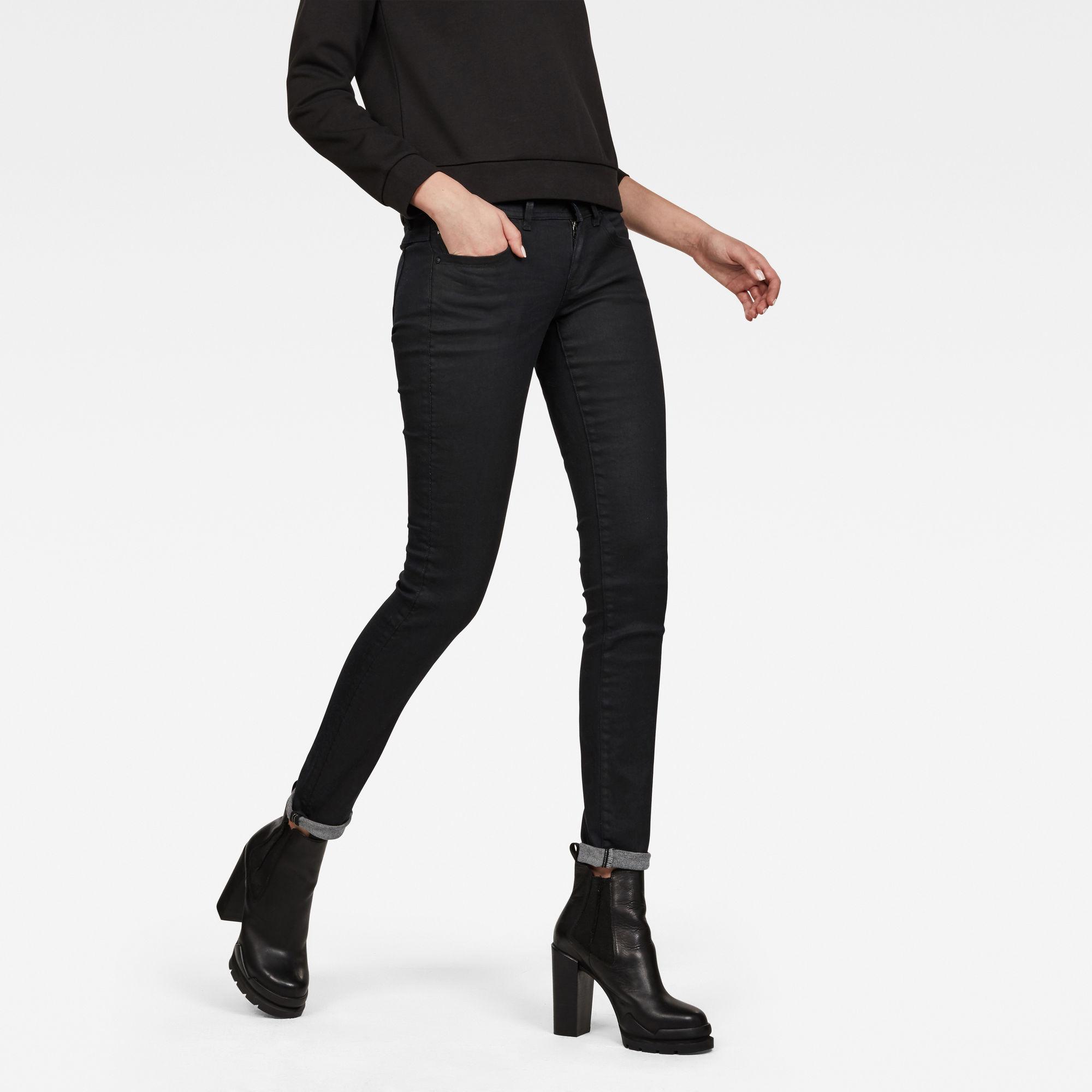G-Star RAW Dames Lynn Mid Waist Skinny Jeans Zwart