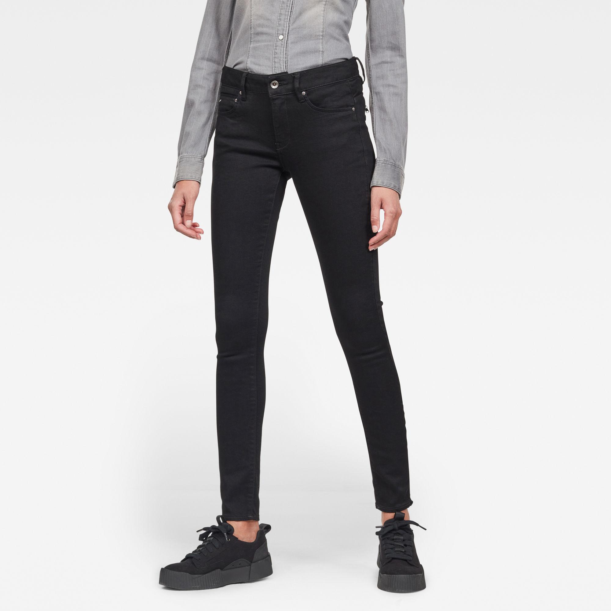 G-Star RAW Hombre Midge Zip Mid SkinnyJeans Negro