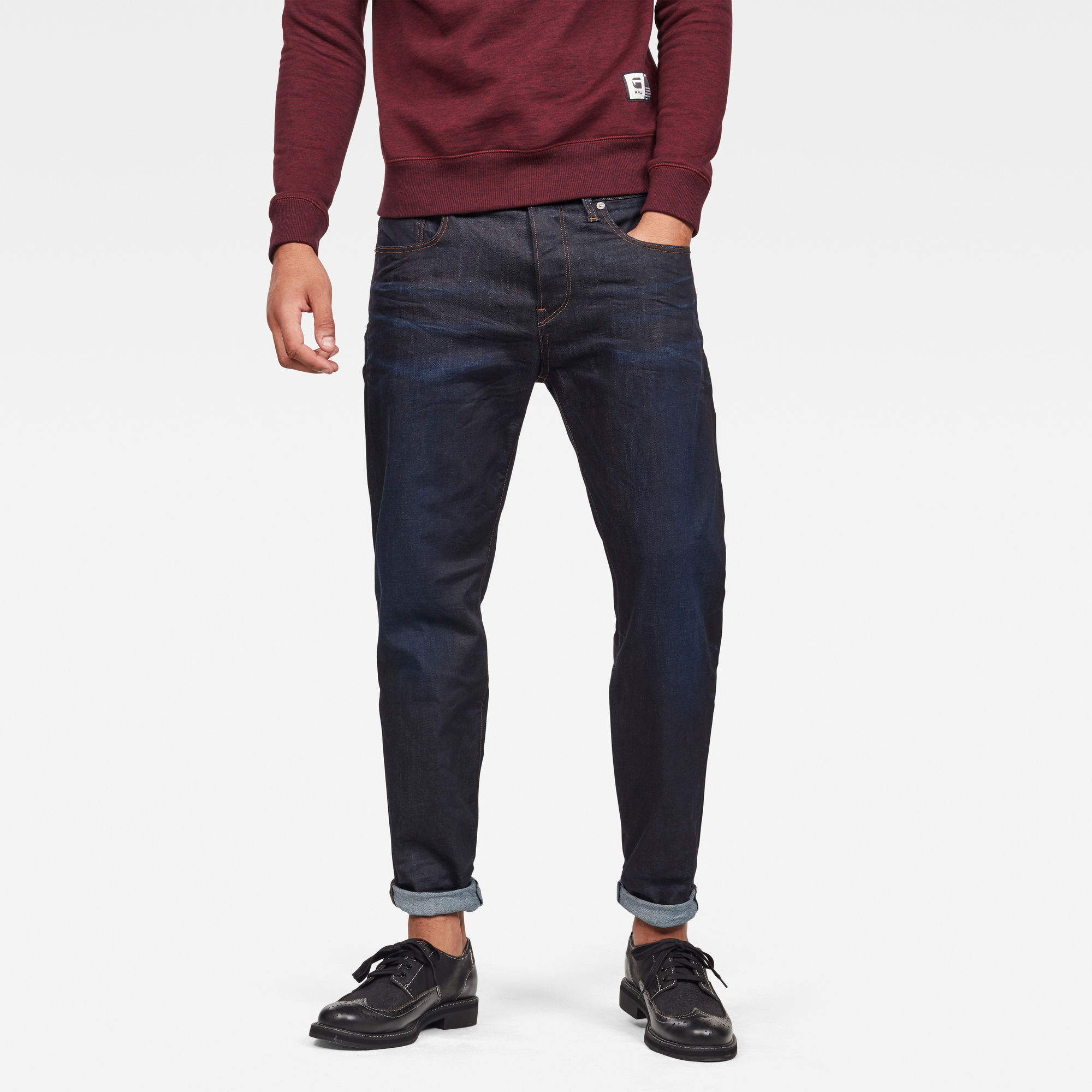 G-Star RAW Heren 3301 Relaxed Straight Jeans Donkerblauw