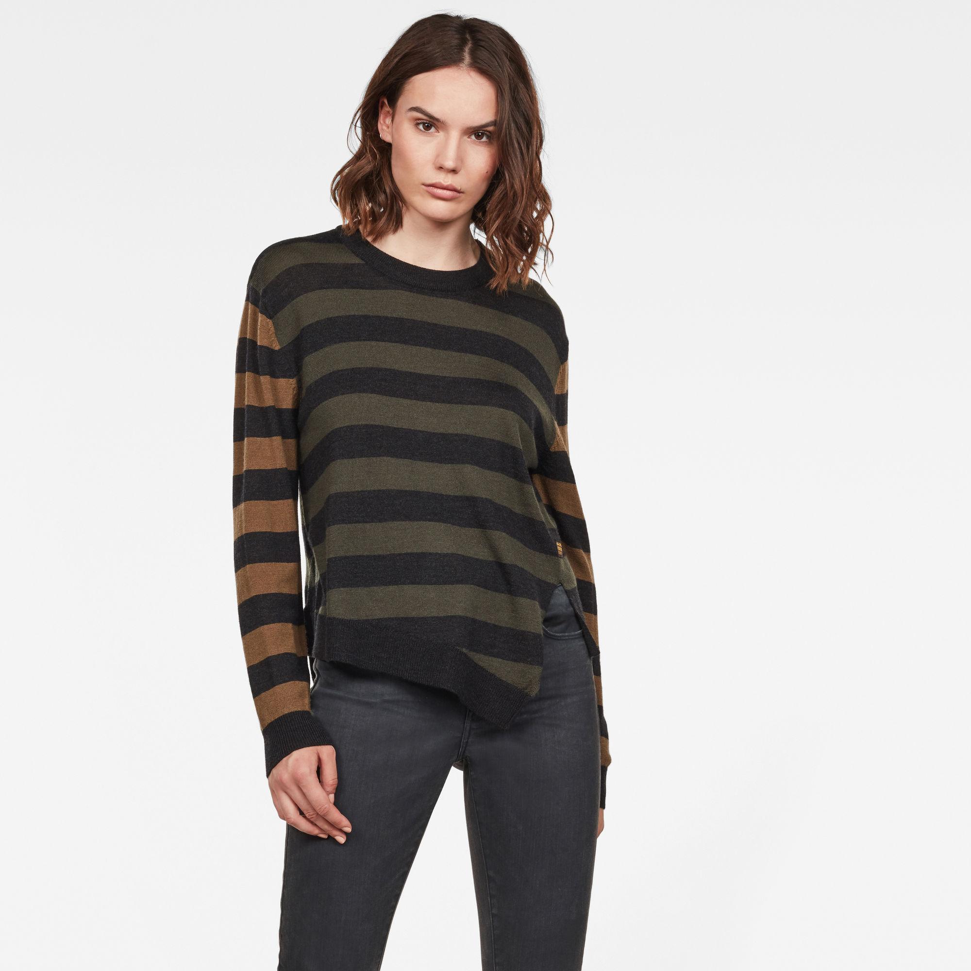 G-Star RAW Dames Asymmetrical Knitted Sweater Groen