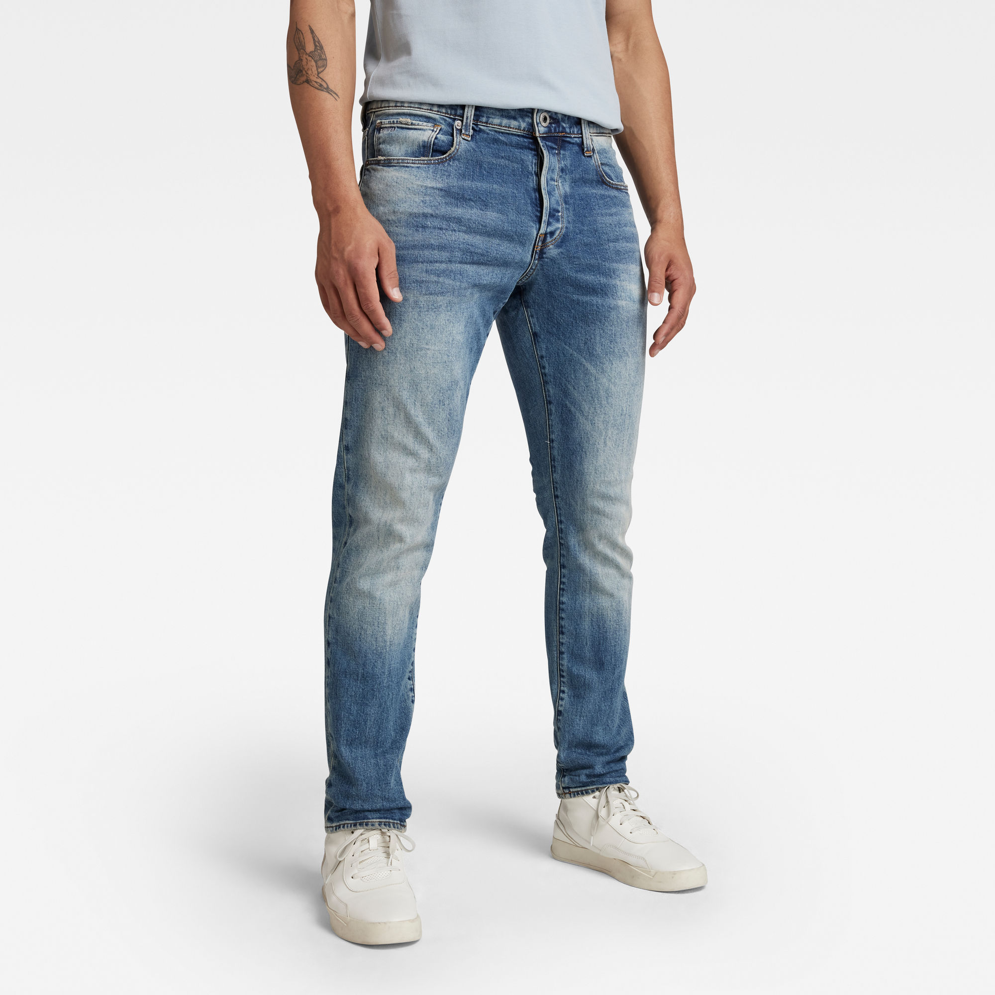 G Star RAW Heren 3301 Straight Tapered Jeans Lichtblauw
