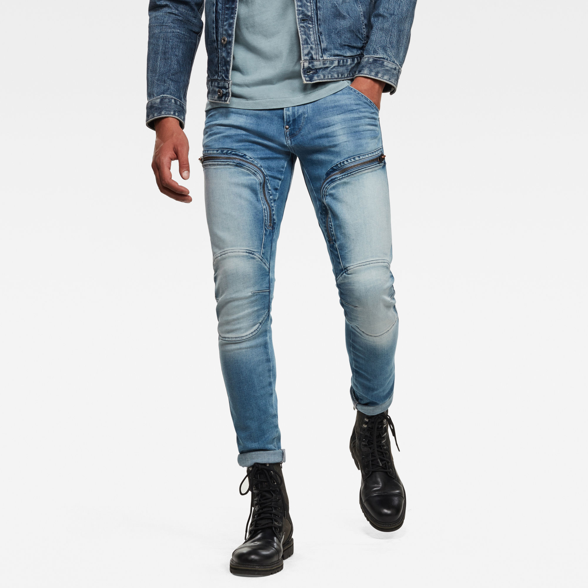 G Star RAW Heren Air Defence Zip Skinny Jeans Lichtblauw