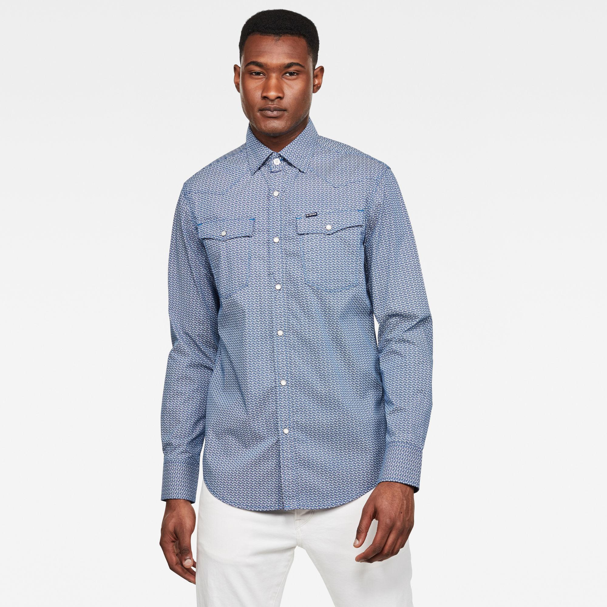 3301 Slim Overhemd Blauw