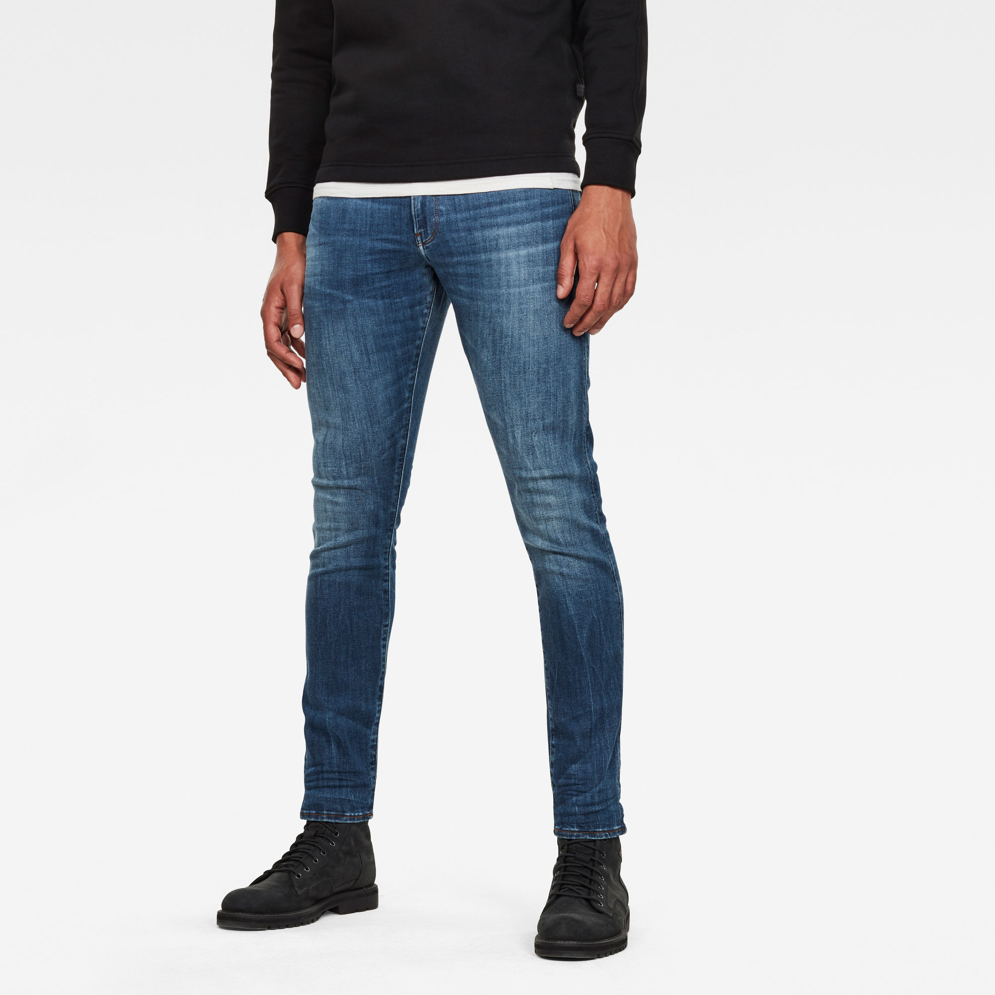 3301 Deconstructed Skinny Jeans Blauw