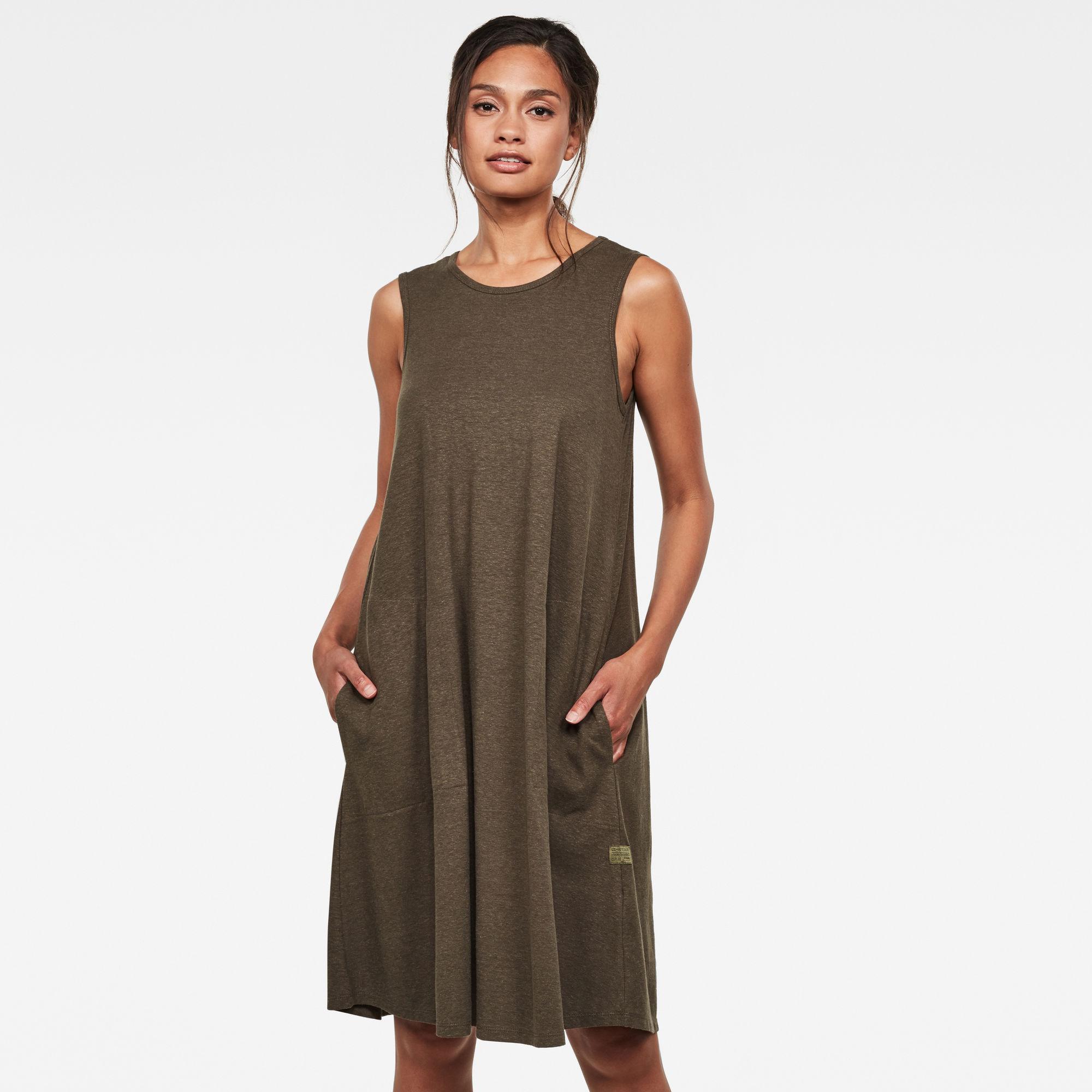 G Star RAW Dames Tank A line Dress Groen