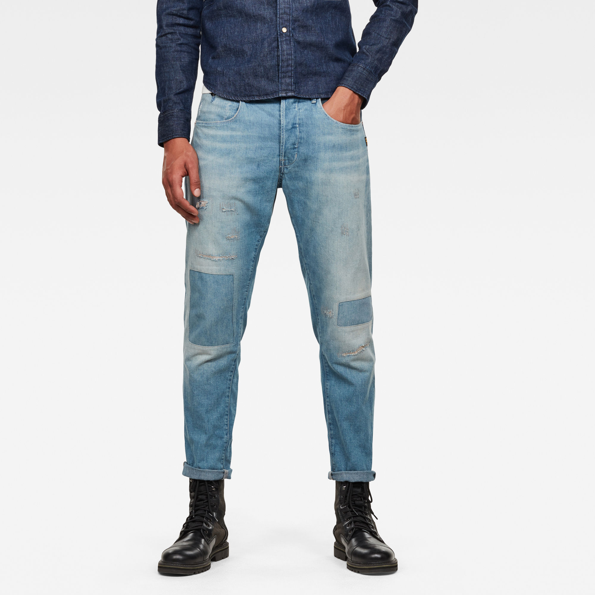 G-Star RAW Heren Loic Relaxed Tapered Jeans Lichtblauw