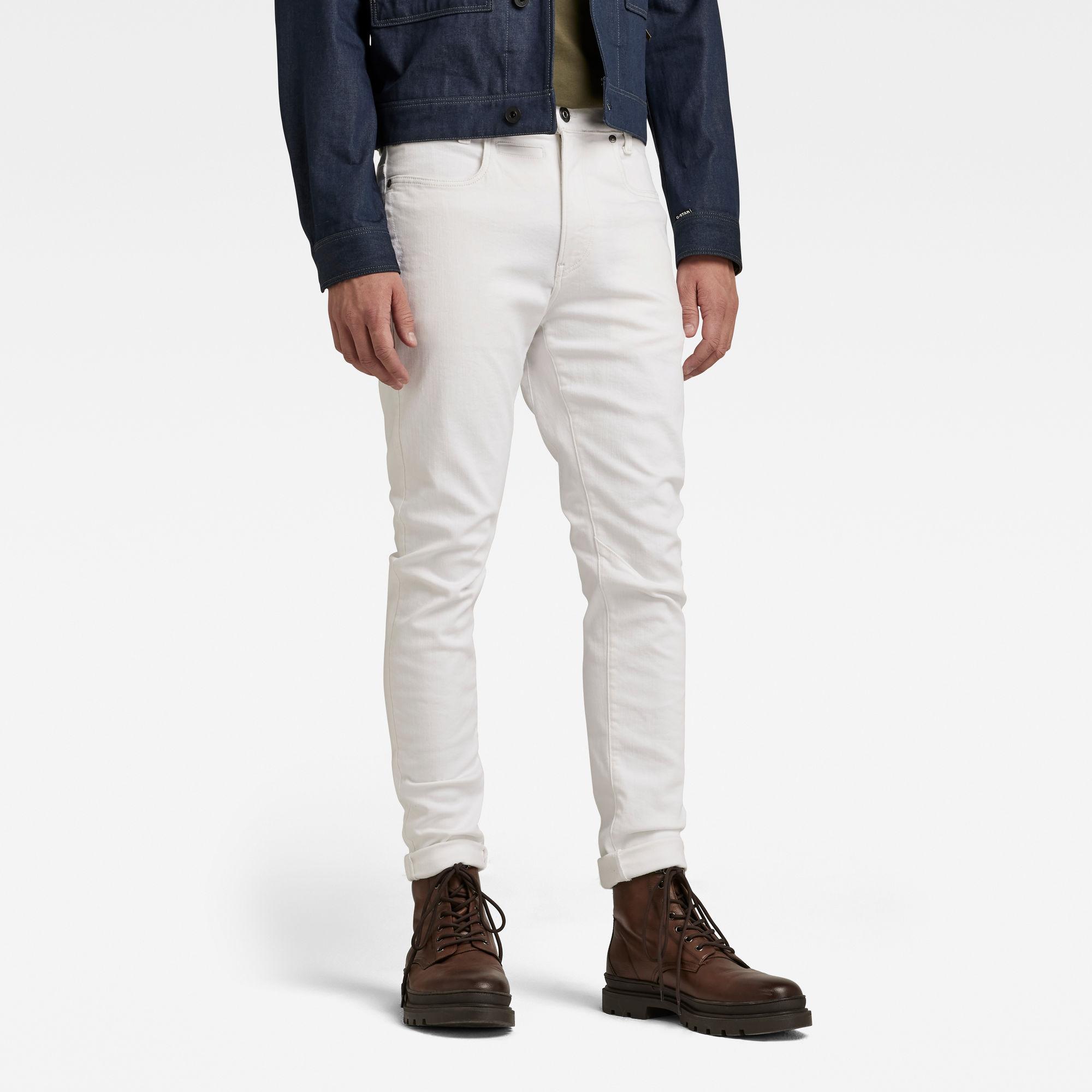 G-Star RAW Heren D-Staq 3D Slim Jeans Wit