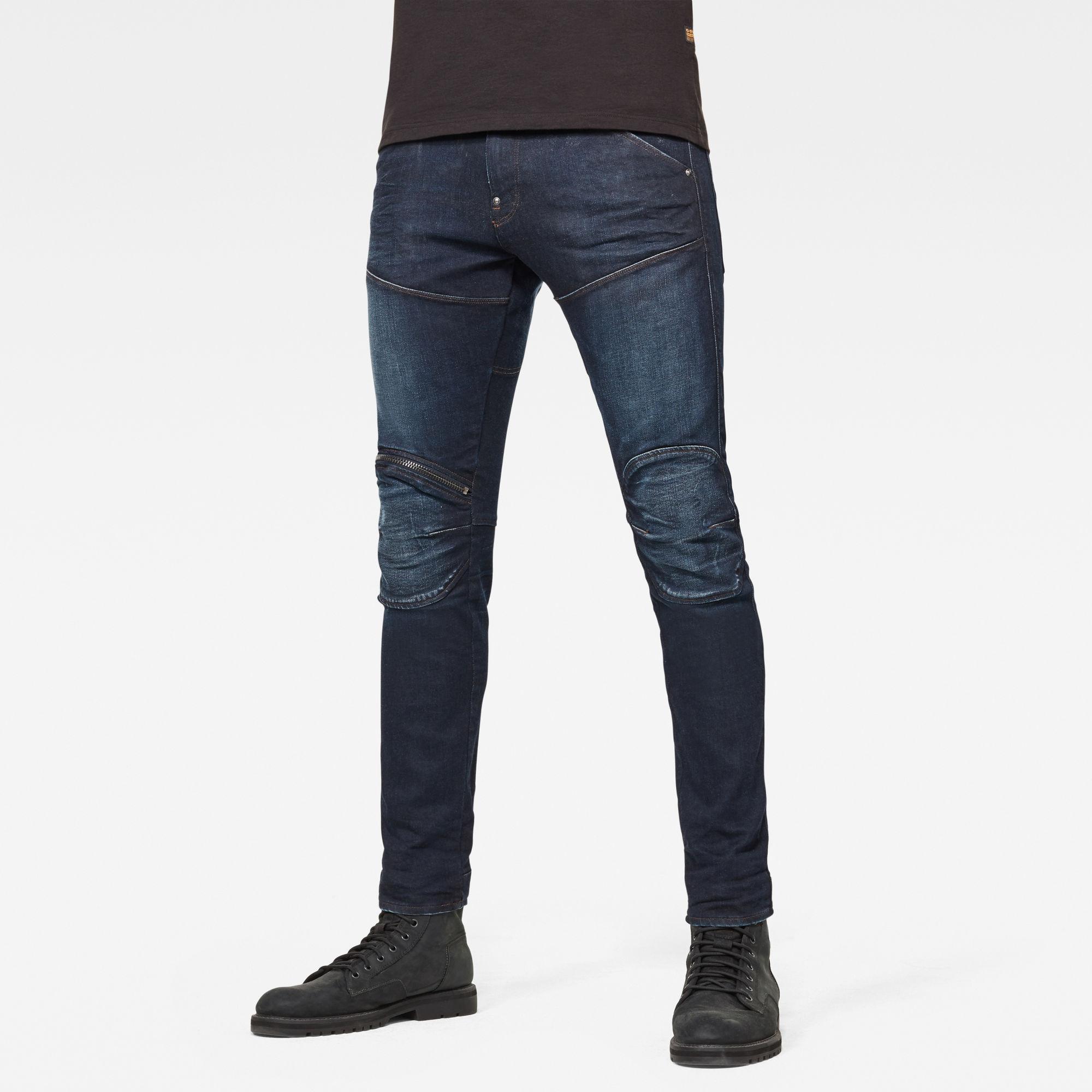 G-Star RAW Heren 5620 3D Zip Knee Skinny Jeans Donkerblauw