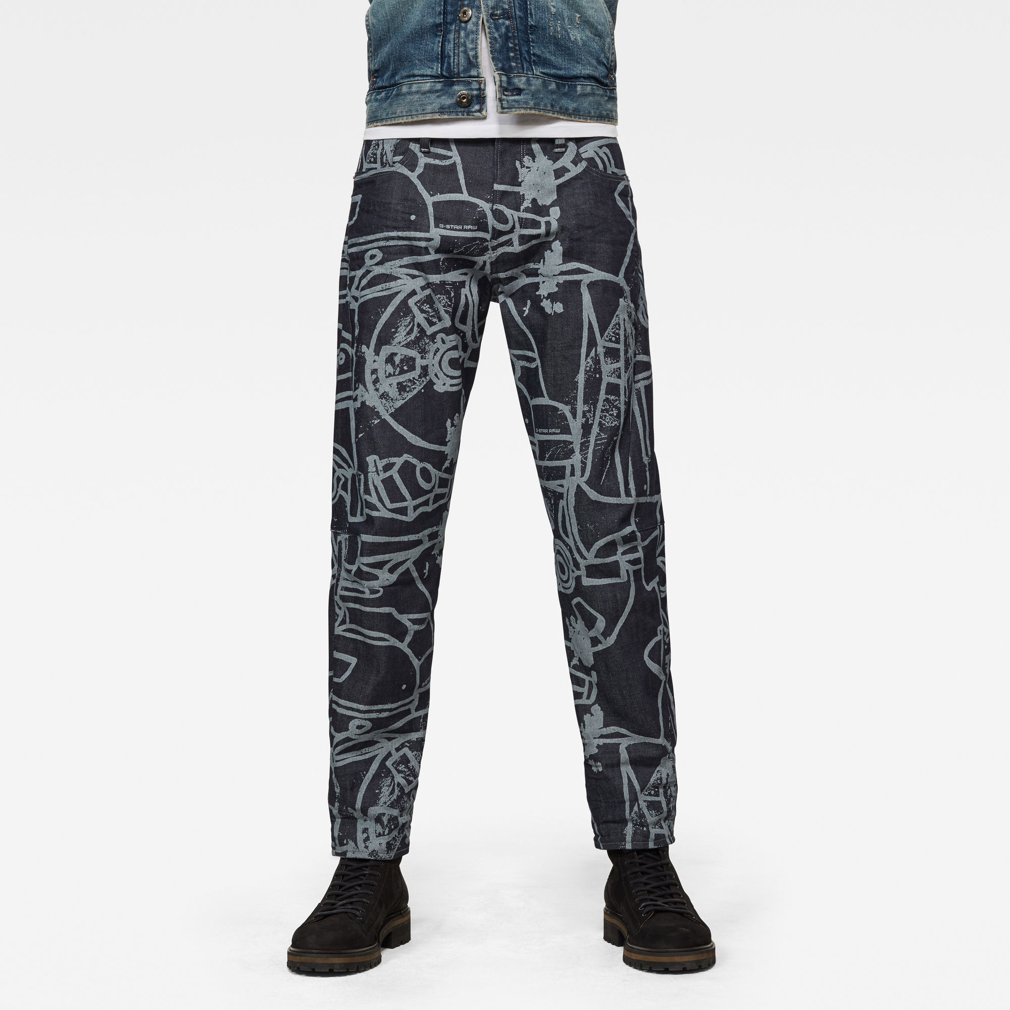 G-Star RAW Heren Scutar 3D Tapered Jeans Donkerblauw