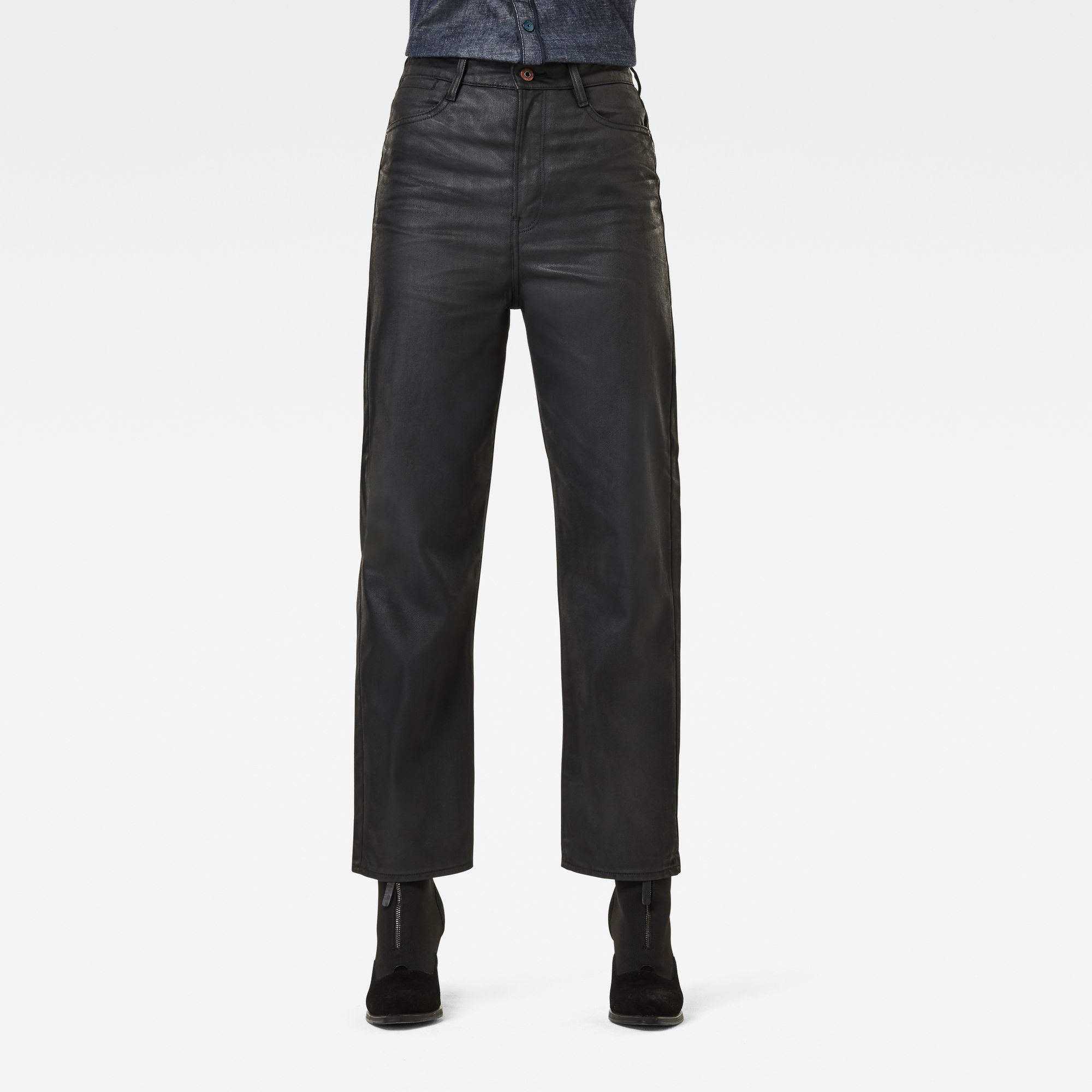 G-Star RAW Dames Tedie Ultra High Straight Ankle Jeans Zwart