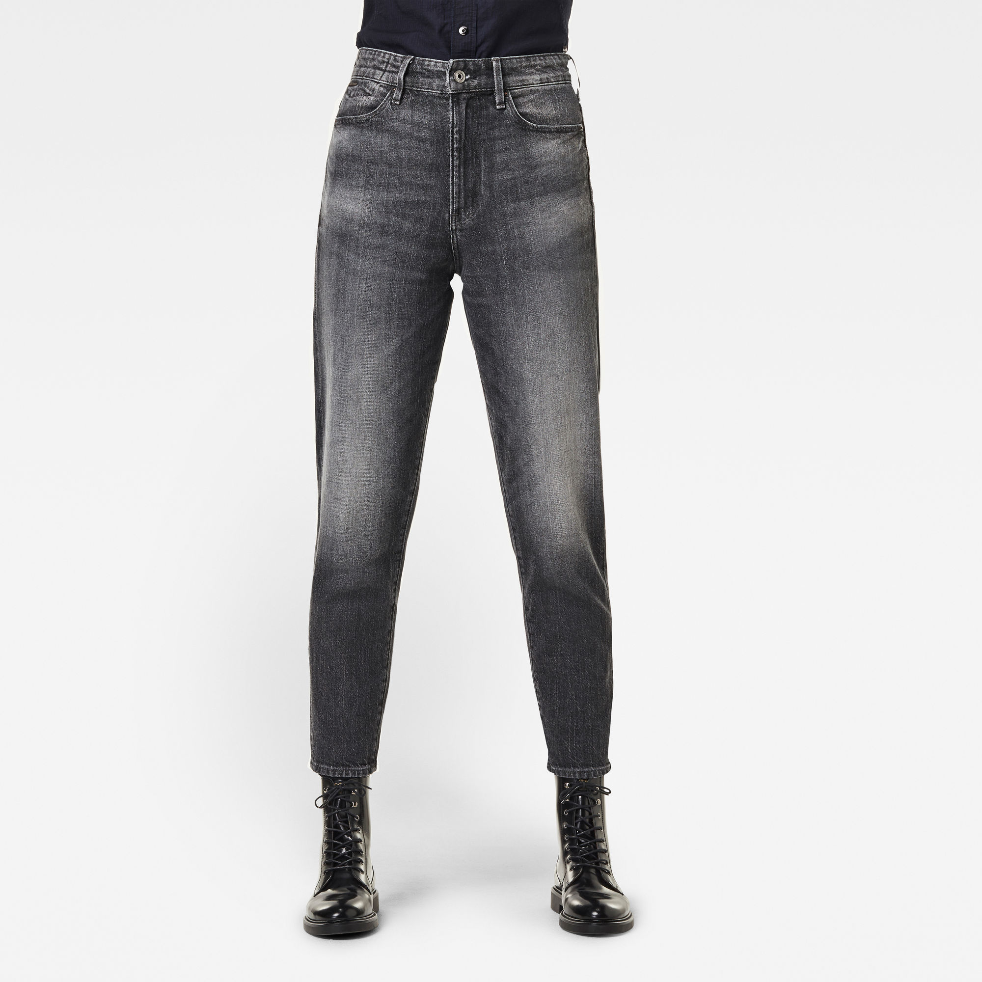 G-Star RAW Dames Janeh Ultra High Mom Ankle Jeans Zwart