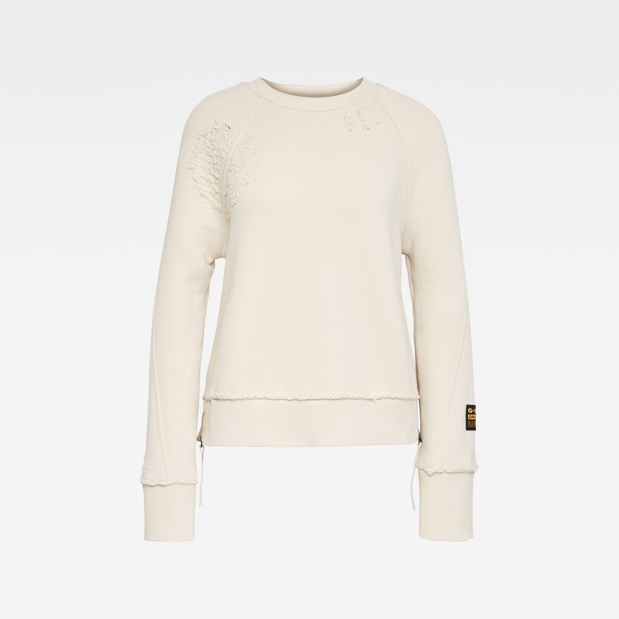 G-Star RAW Dames E Raglan Sleeve Cropped Sweater Beige