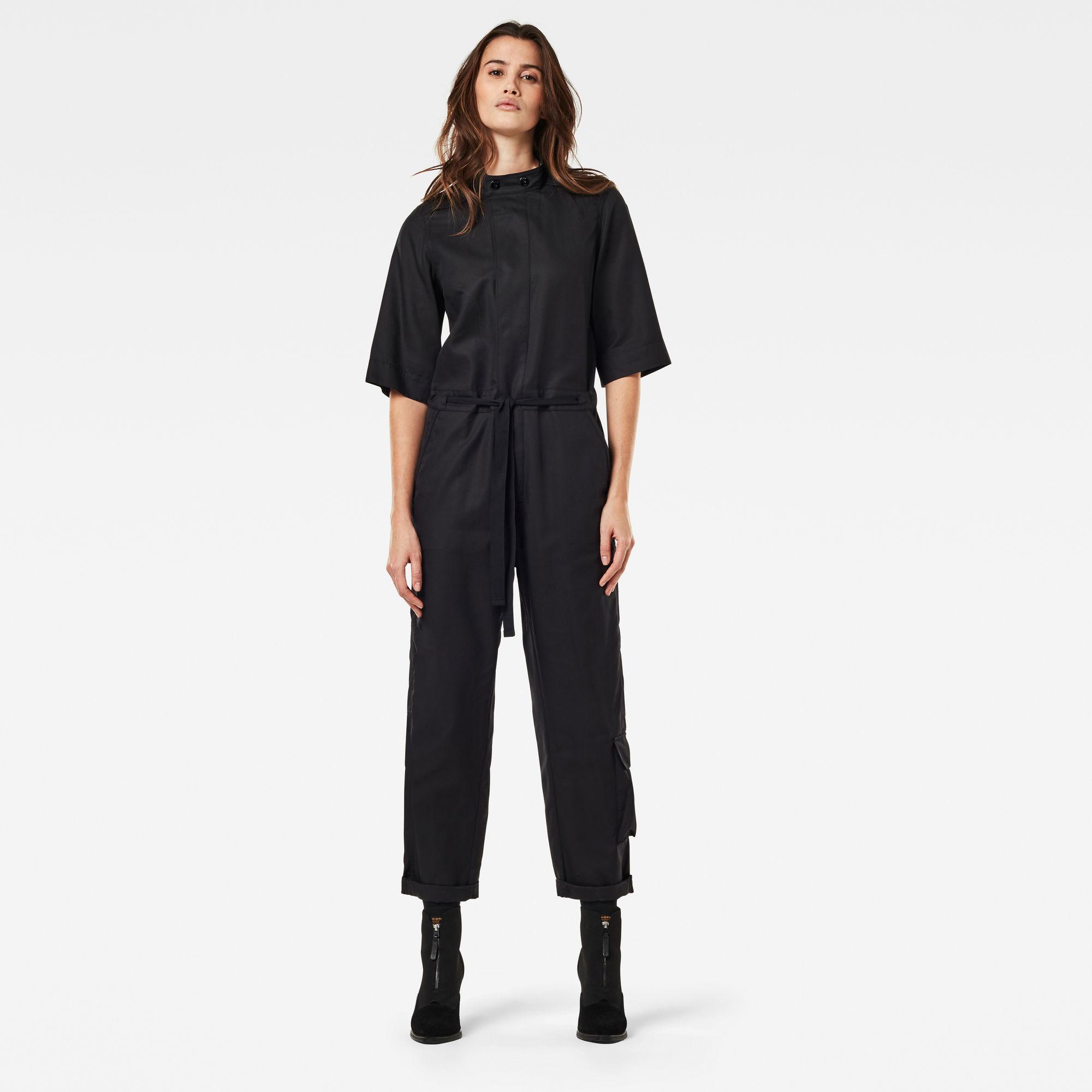 G-Star RAW Dames Workwear Jumpsuit Korte Mouw Zwart