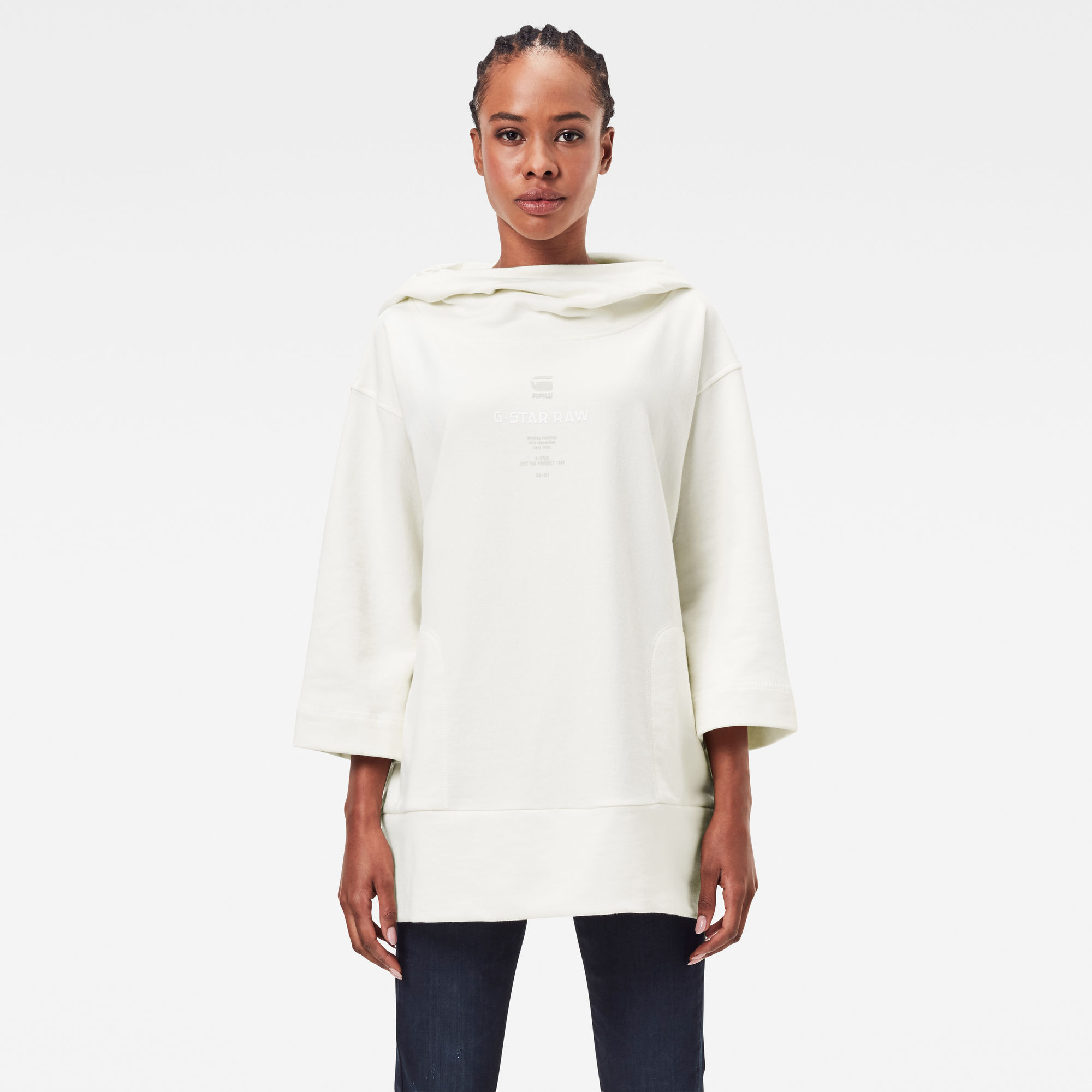 G-Star RAW Dames Oversized Cover Sweater Met Capuchon Wit