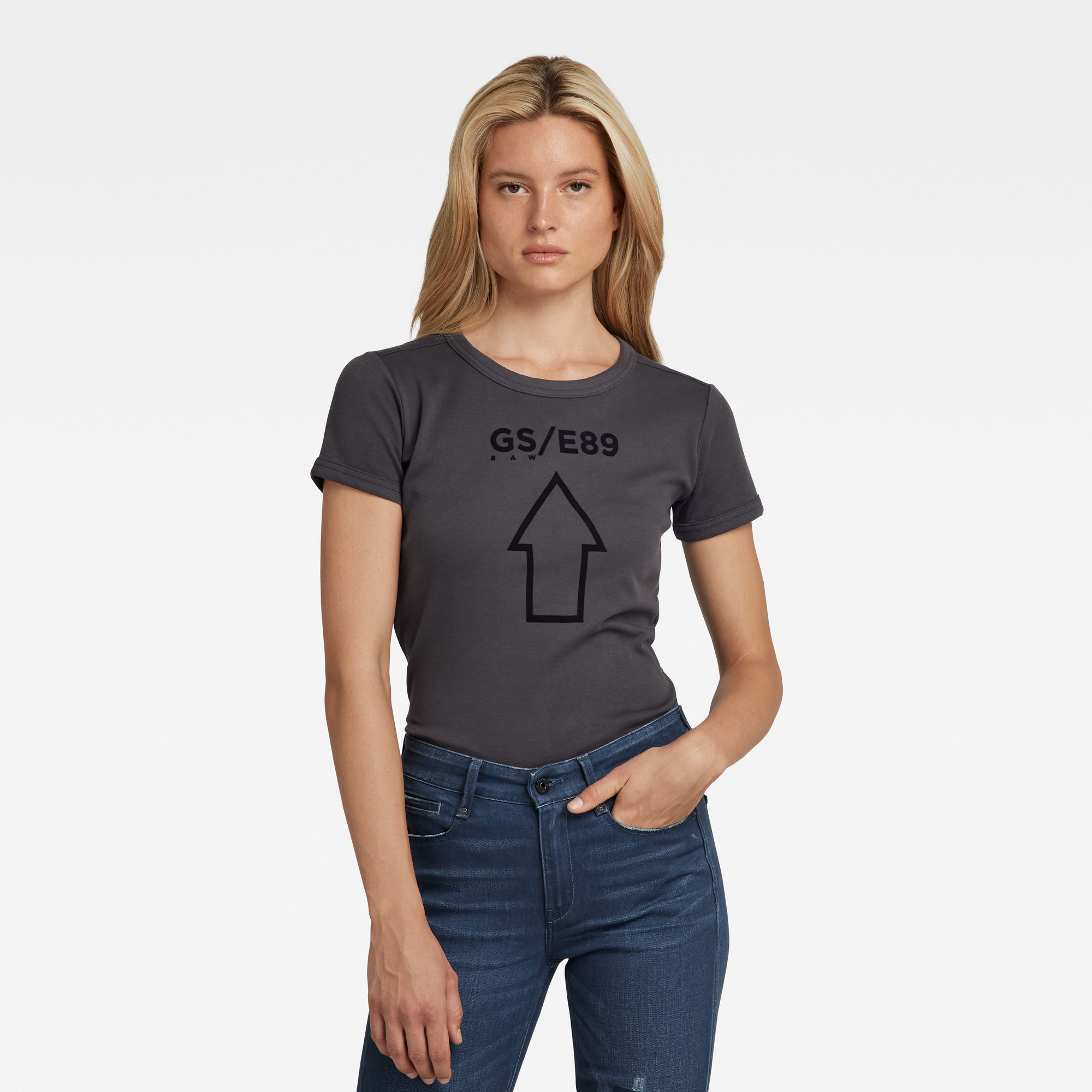 G-Star RAW Dames Cropped T-Shirt Front Logo Slim Grijs