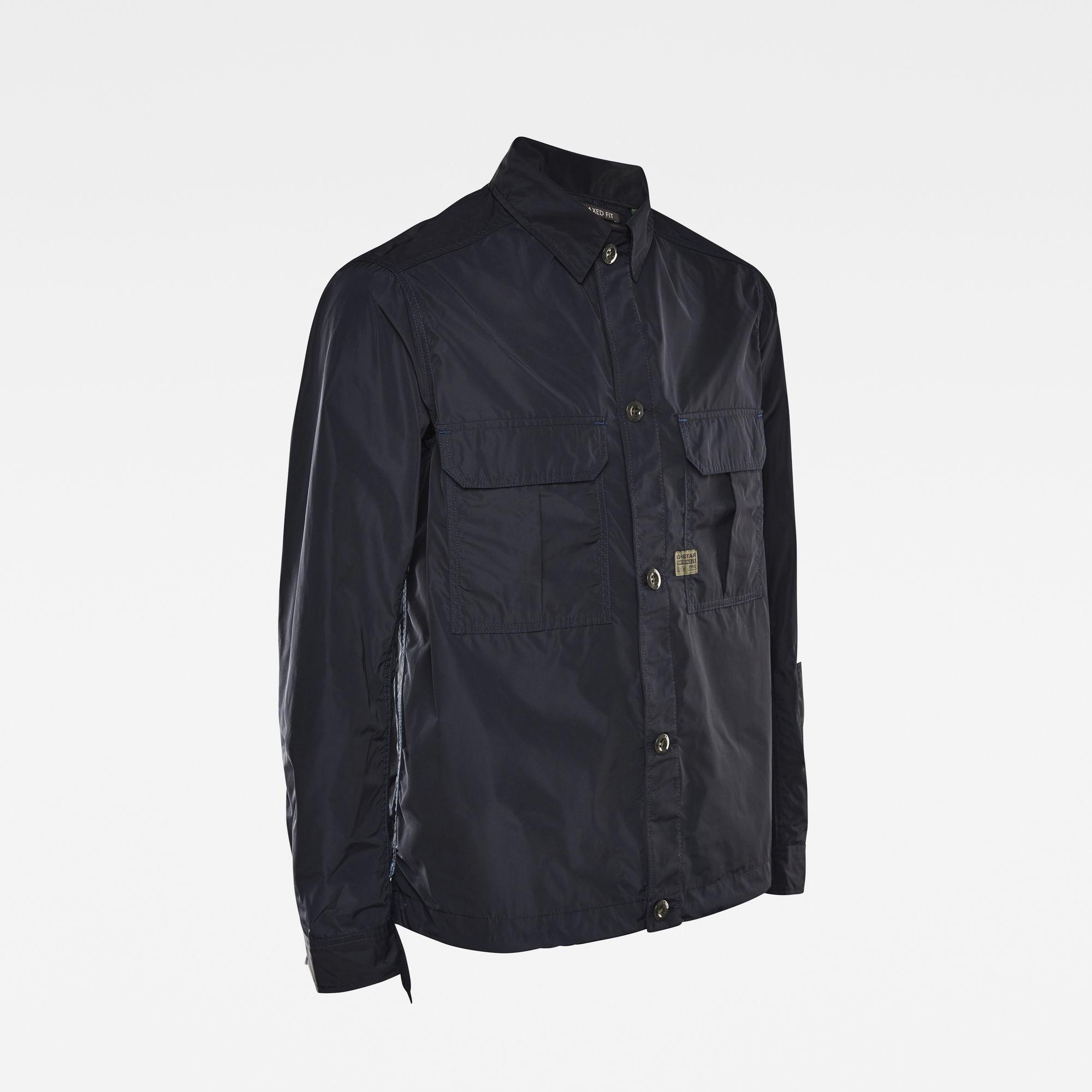 2 Flap Pocket Relaxed Overshirt Donkerblauw