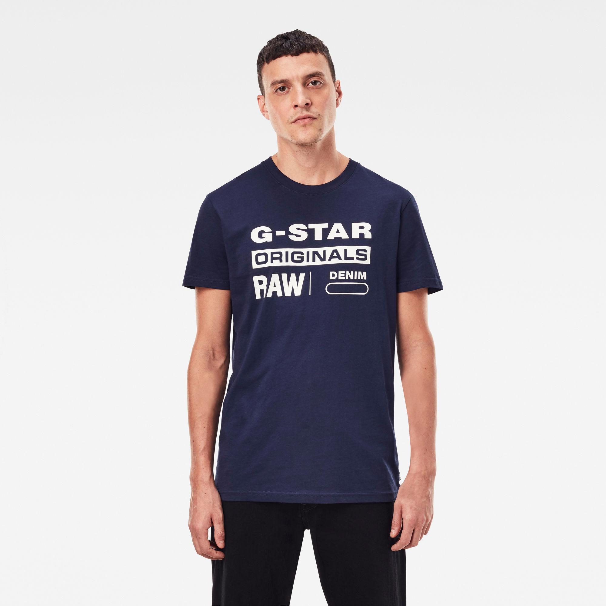 G-Star RAW Heren Graphic 8 T-Shirt Donkerblauw