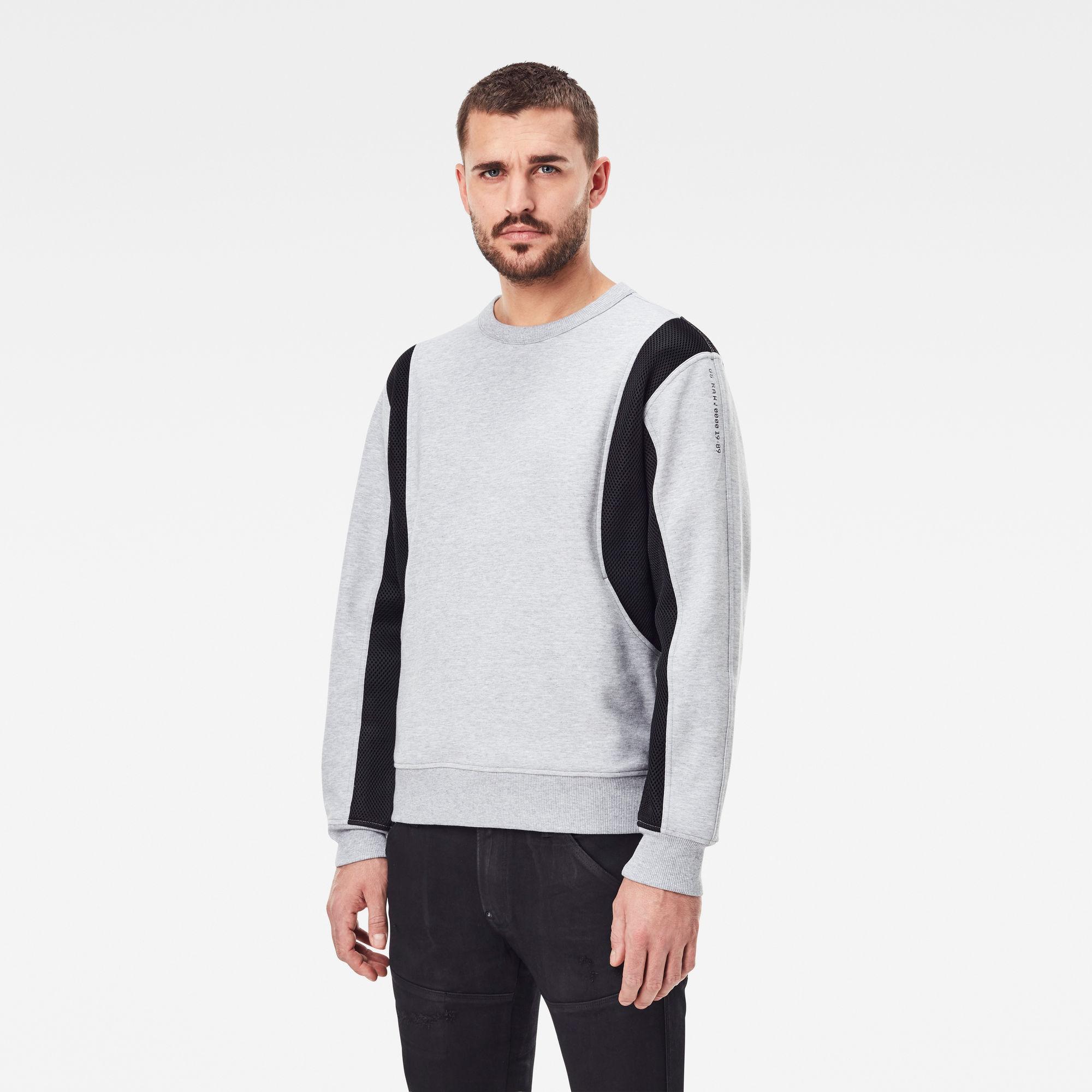 G-Star RAW Heren Moto Mesh Sweater Grijs