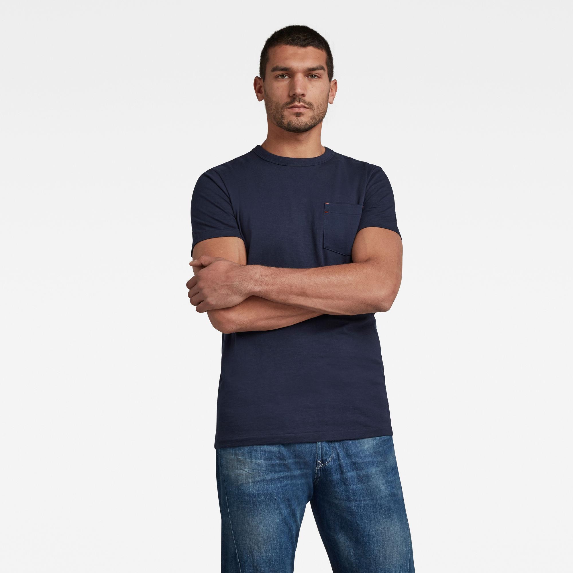 G-Star RAW Heren Contrast Mercerized Pocket T-Shirt Donkerblauw