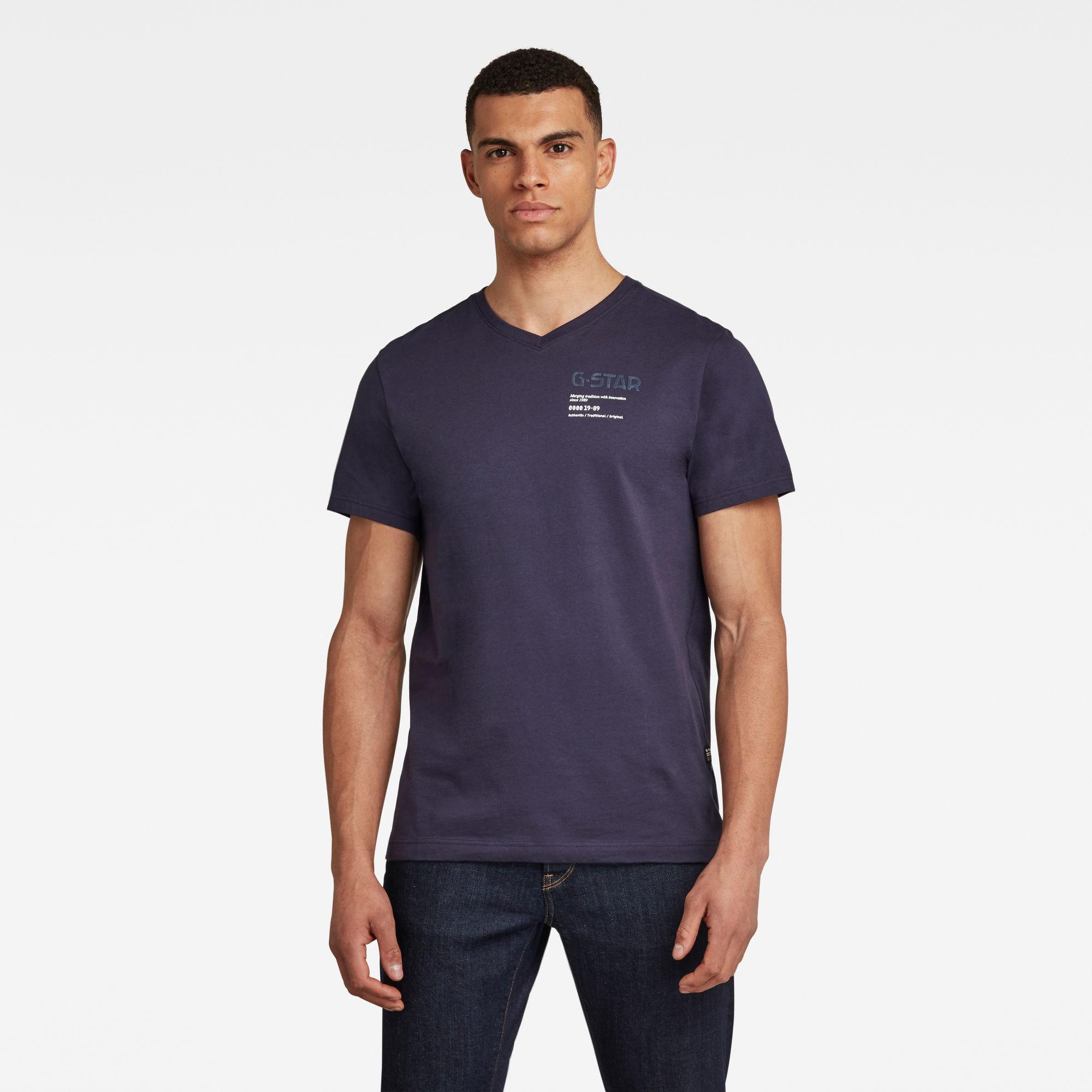 G-Star RAW Heren G-Star Chest Graphic T-Shirt Donkerblauw