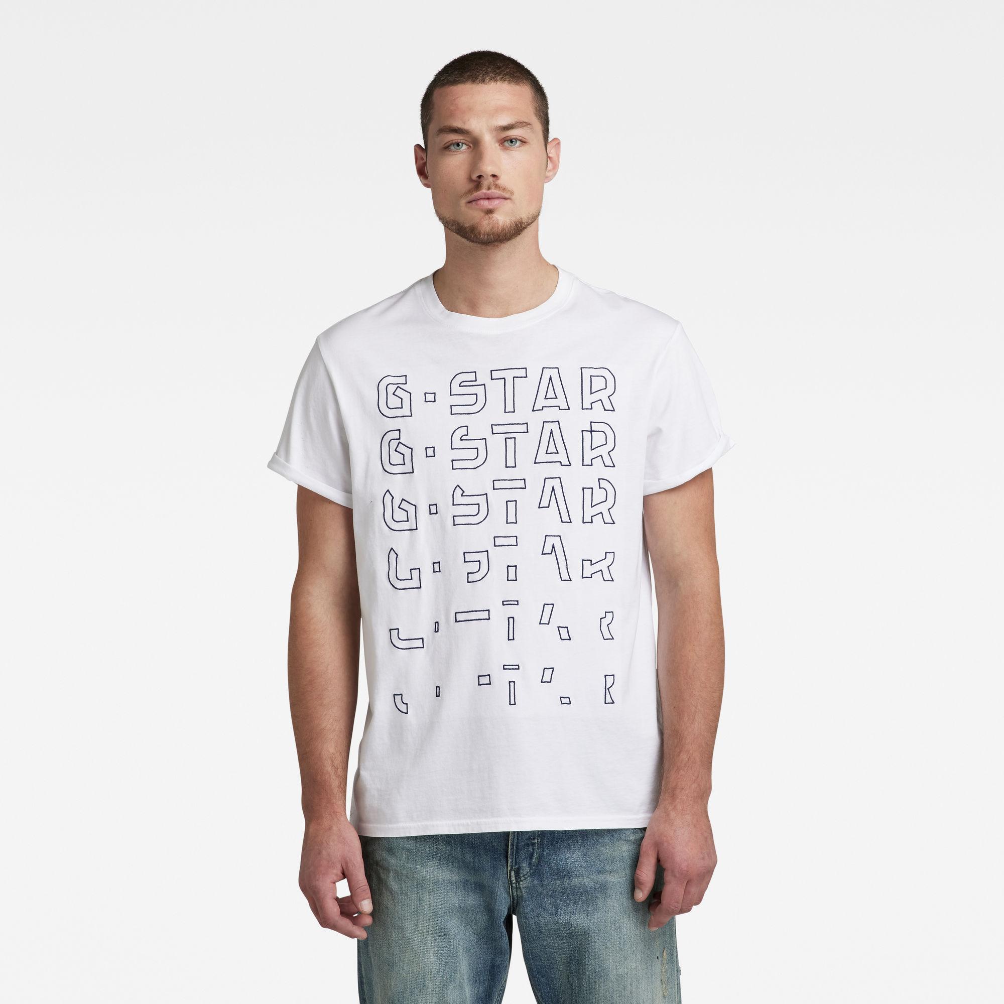G-Star RAW Heren Embro Gradient Graphic Lash T-Shirt Wit