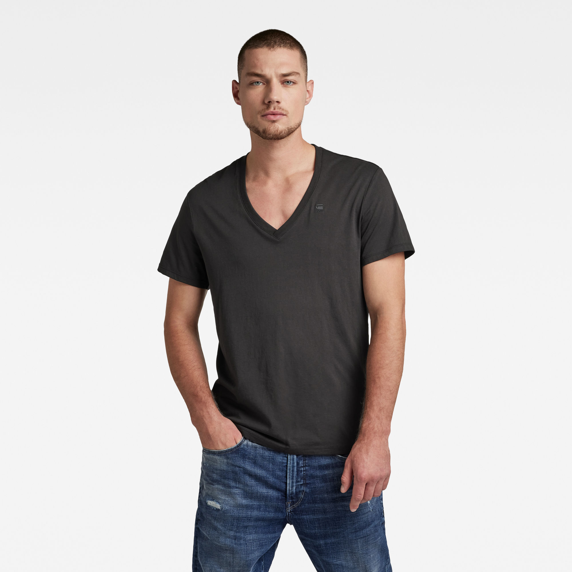 G-Star RAW Heren Basic Heather T-Shirt 2-Pack Zwart
