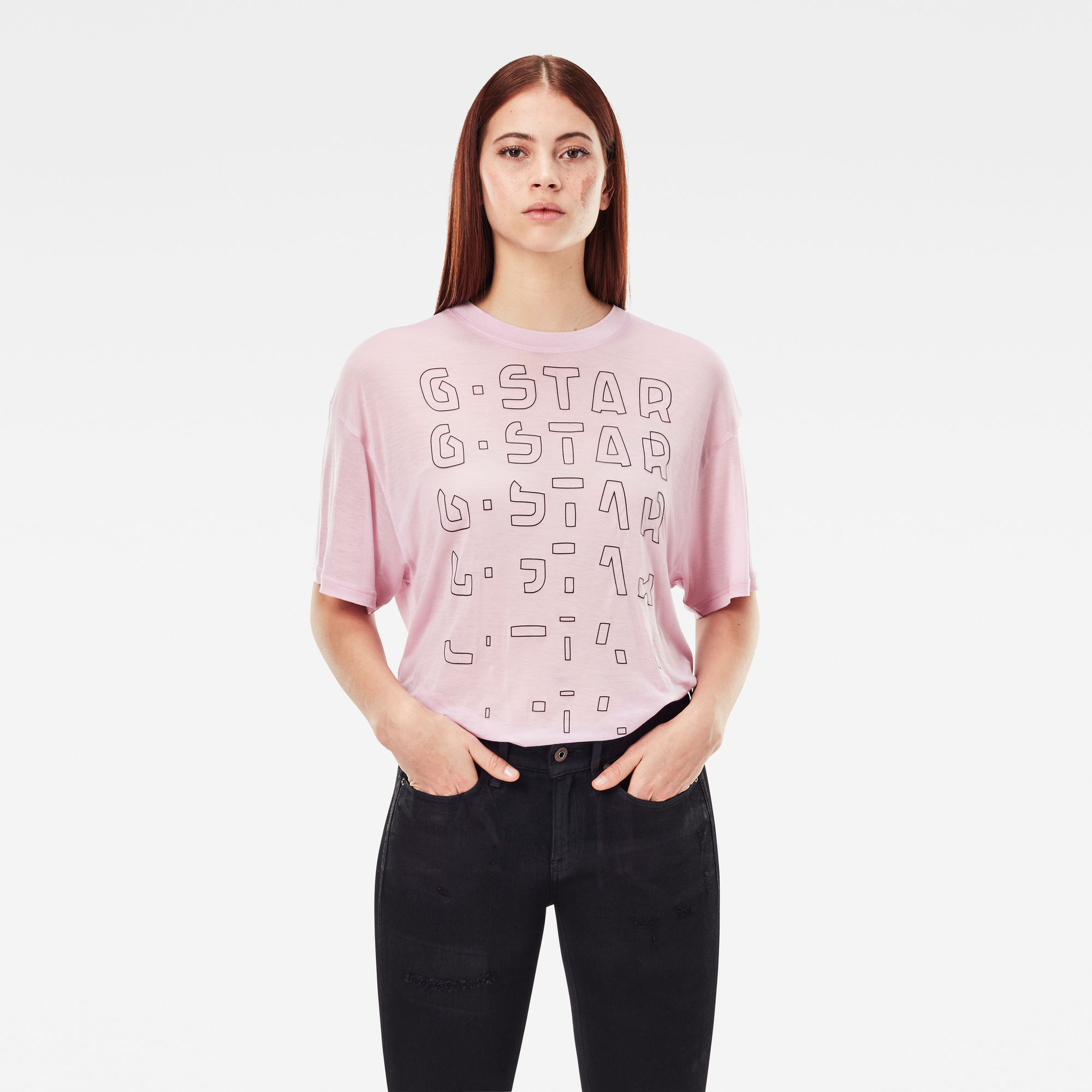 G-Star RAW Dames Sheer Faded Graphic Tee Paars