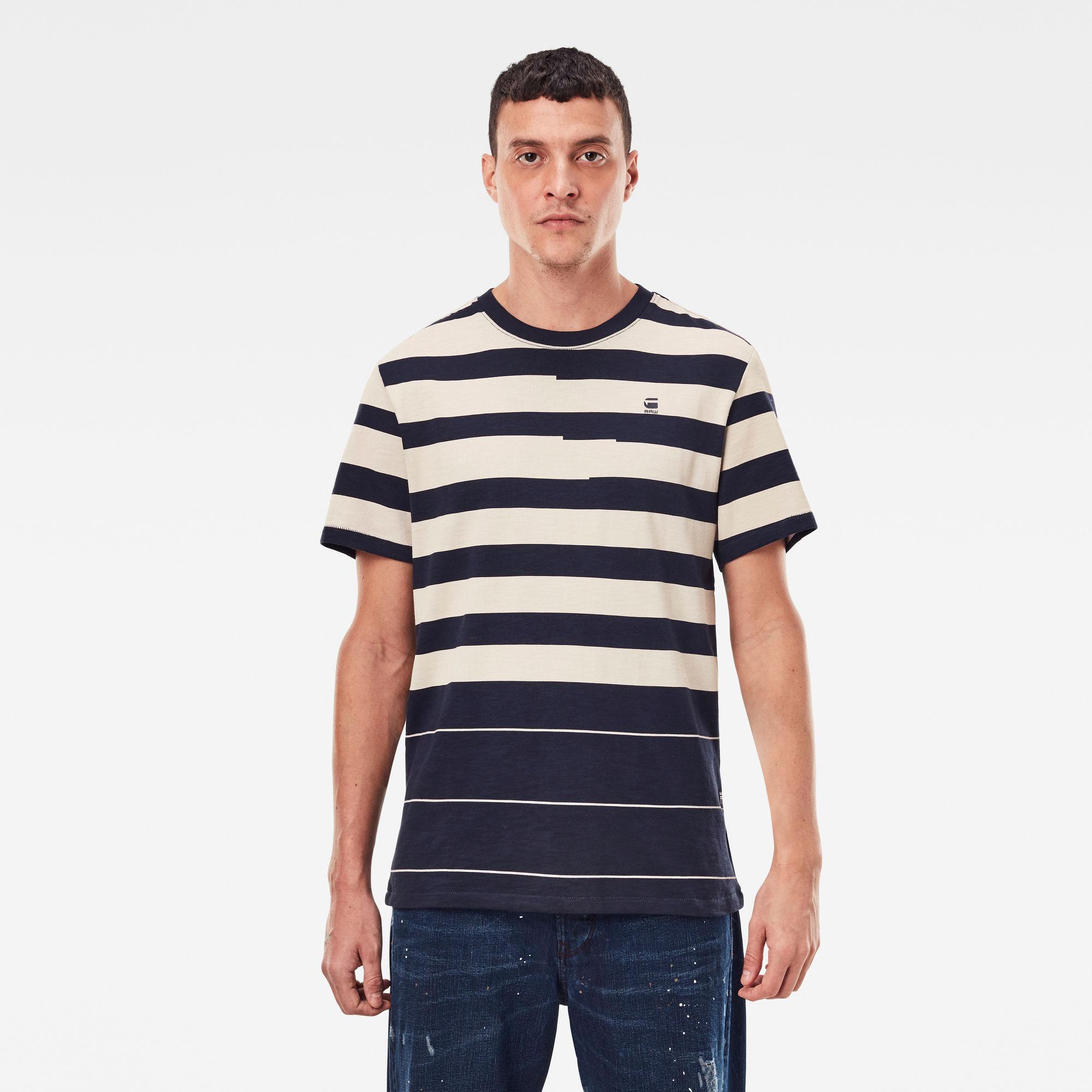 G-Star RAW Heren Pixalated Stripe T-Shirt Donkerblauw