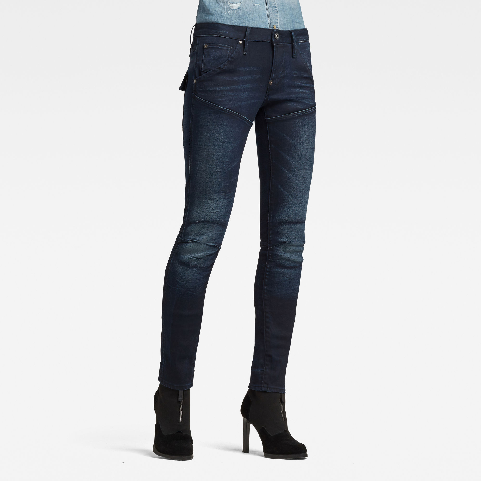 G-Star RAW Dames 5620 Heritage Embro Tapered Jean Blauw