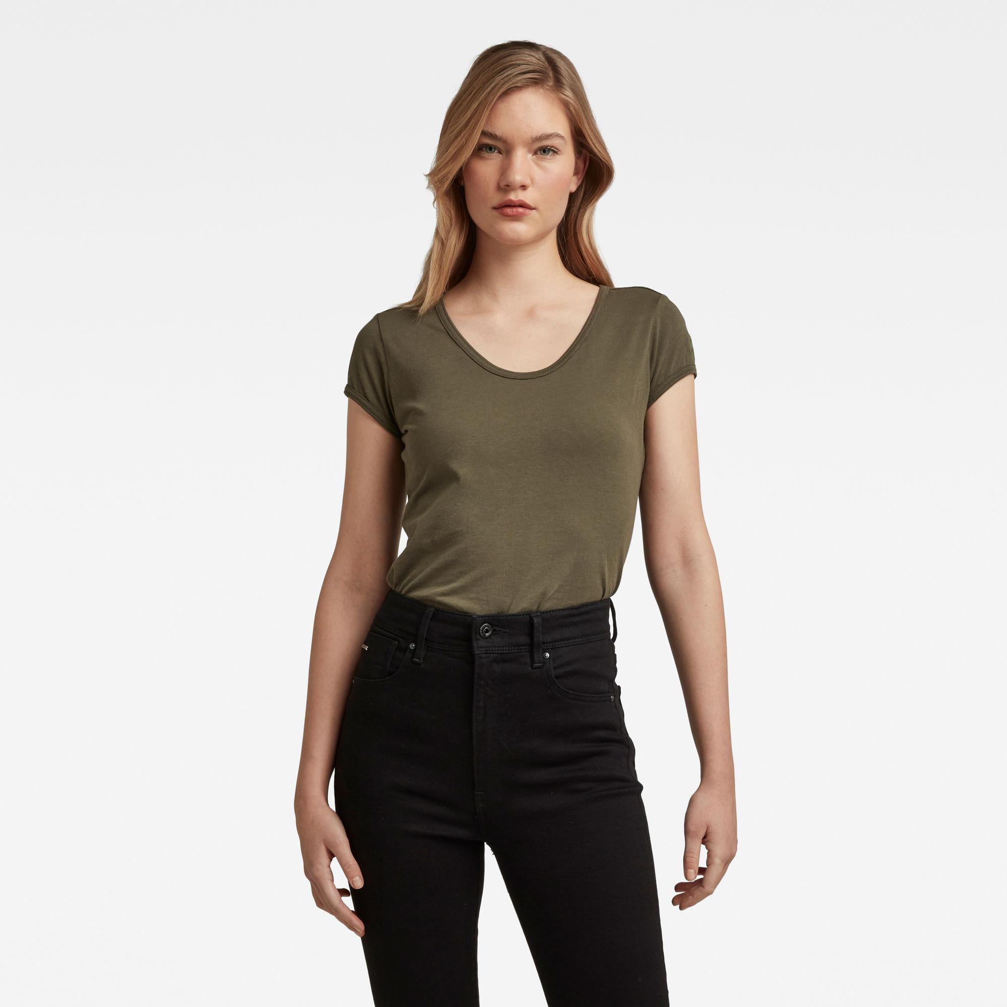 G-Star RAW Dames Core Eyben Slim T-Shirt Groen